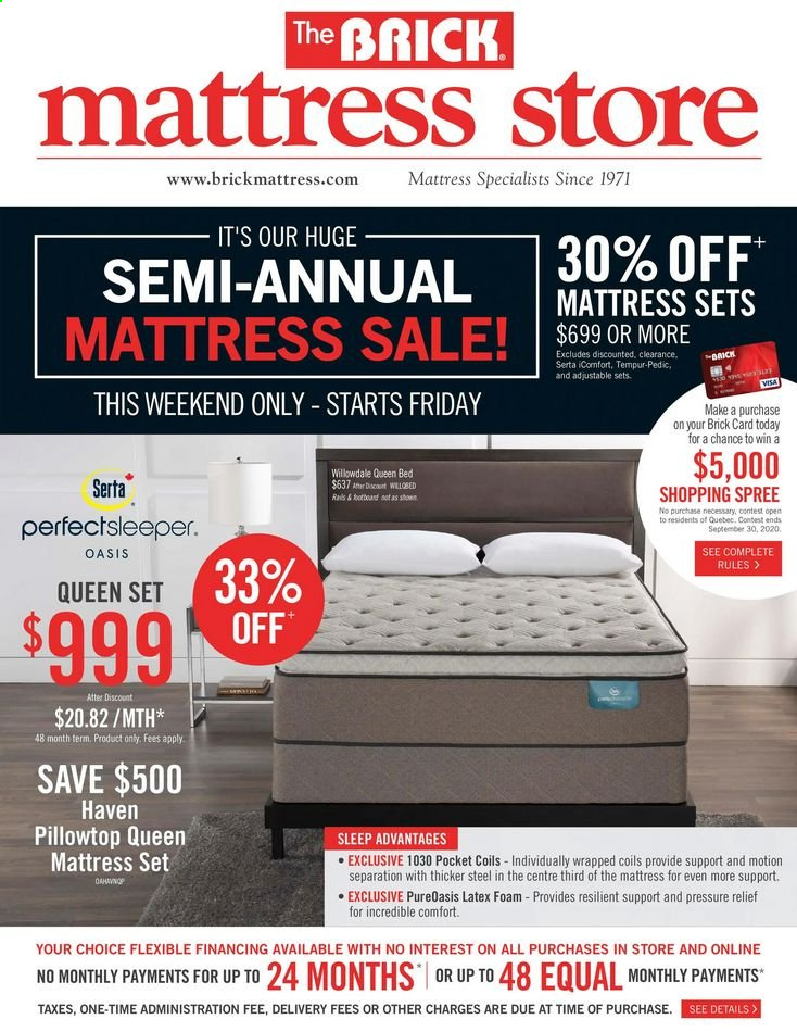 The Brick Flyer - September 22, 2020 - September 28, 2020 - Sales products - bed, foam, mattress, queen bed, latex. Page 1.