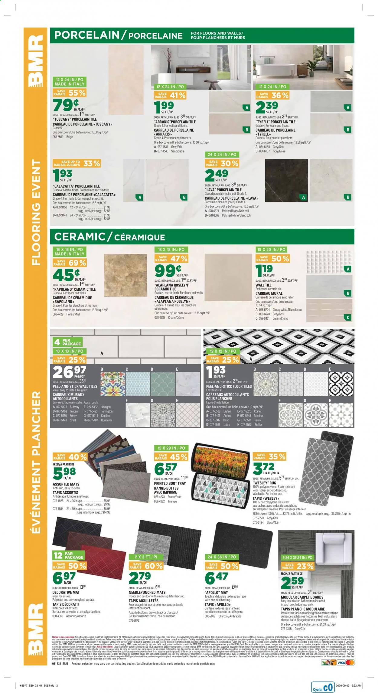 BMR Flyer - September 23, 2020 - September 29, 2020 - Sales products - cream, crème, flooring, mat, rug, shell, surface, tray, honey, charcoal, carpet, tapis, accessoires, finish, triangle, slip, porte, marble, miel, planche, plancher, lustre, latex, rubber, box, vinyl. Page 3.
