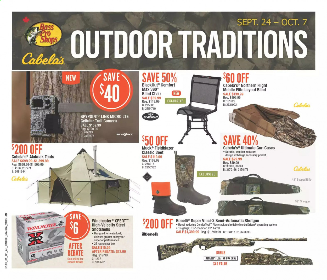 Bass Pro Shops Flyer - September 24, 2020 - October 07, 2020 - Sales products - Bass Pro, camera, rifle, shotgun, trail cam, gun, gun case, chair, box. Page 1.