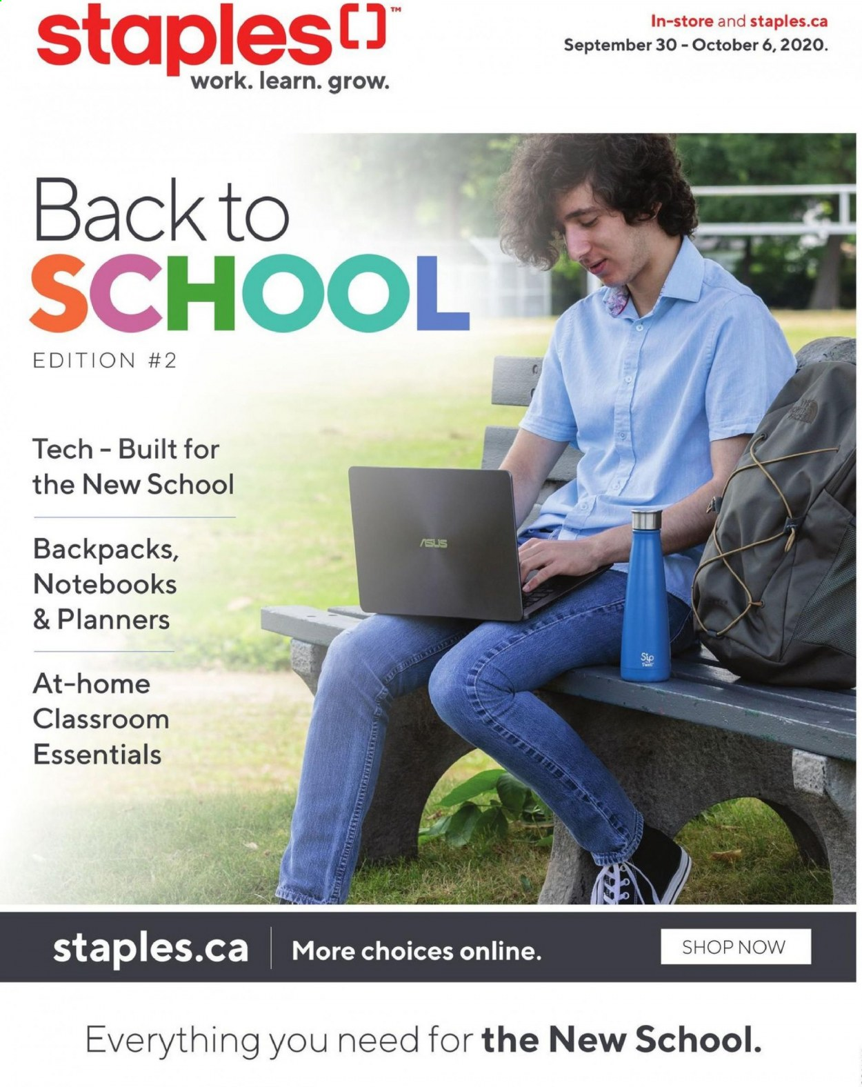 Staples Flyer - September 30, 2020 - October 06, 2020 - Sales products - asus, essentials. Page 1.