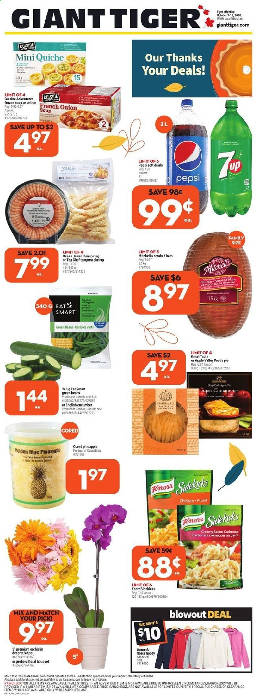 Giant Tiger Flyer - October 07, 2020 - October 13, 2020 - Sales products - apples, bacon, beans, cucumbers, frozen, green beans, ring, shrimp, tiger, ham, pineapple, pot, chicken, pepsi, onion soup, onion, smoked ham, pie, soup, pasta, knorr, poulet, tarte, haricot, haricot vert, mot, grid, apple, shrimps, haricots. Page 1.