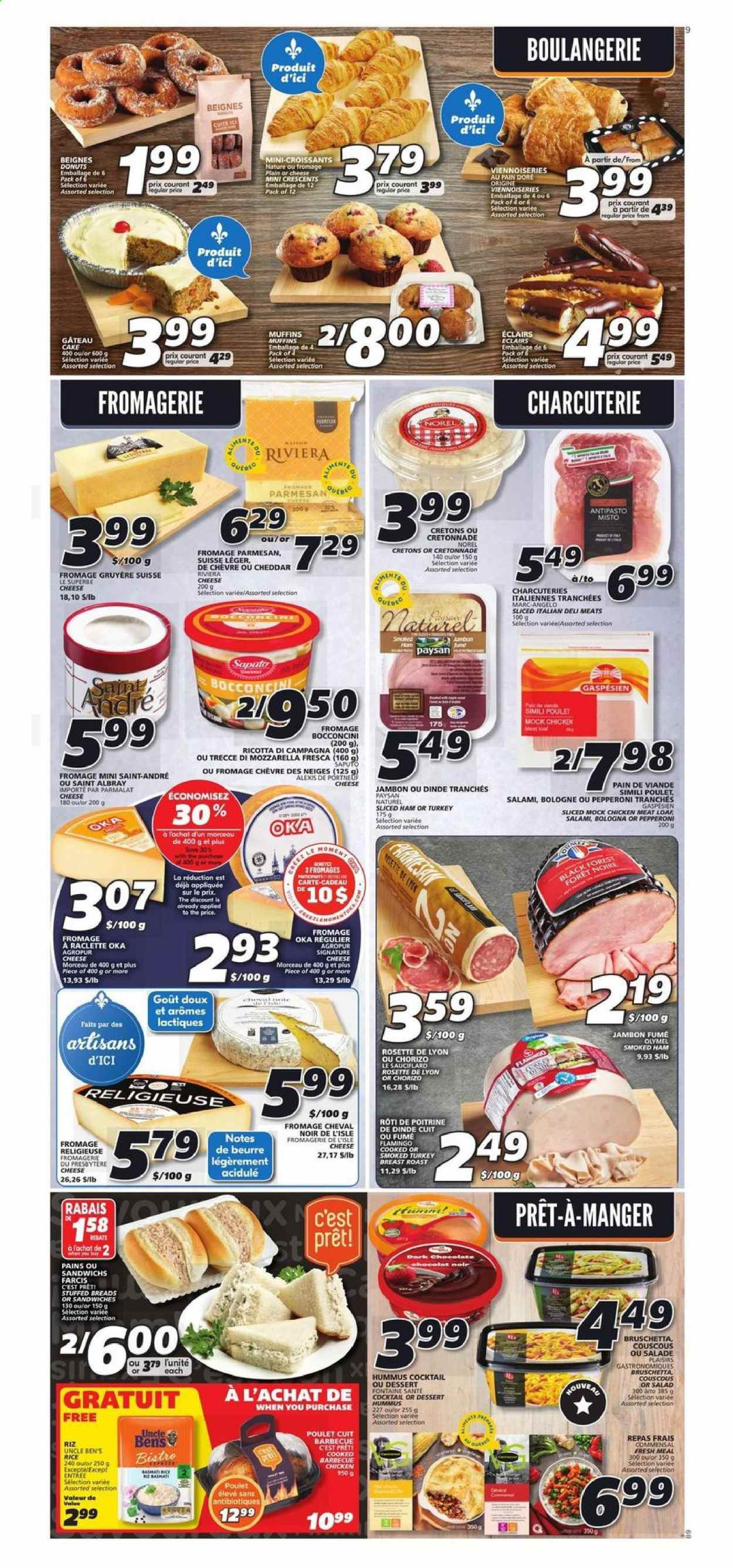IGA Flyer - October 22, 2020 - October 28, 2020 - Sales products - bocconcini cheese, couscous, croissants, flamingo, gruyère, mozzarella, muffins, raclette cheese, rice, ricotta, salami, turkey, turkey breast, viennoiseries, ham, hummus, cheddar, chicken, pan, parmesan, pepperoni, chorizo, chocolate, cheese, cake, dessert, smoked ham, donuts, salad, poulet, viande, dinde, jambon, salade, barbecue, beurre, cadeau, éclair, fromage, gâteau, cheval, chèvre, saint albray, raclette, riz, eclairs, meat, roast, donut. Page 6.