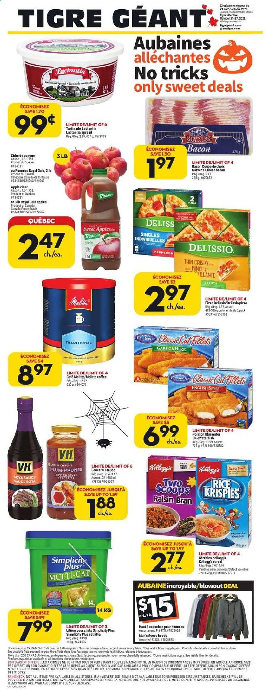 Giant Tiger Flyer - October 21, 2020 - October 27, 2020 - Sales products - apple cider, bacon, bran, cap, cat litter, cereals, coffee, gala apples, garlic, litter, rice, soya sauce, pizza, prunes, cereal, herb, sauce, pommes, café, cidre, coupe, prune, kellogg's, sauce soya, fish, herbs, poisson. Page 1.