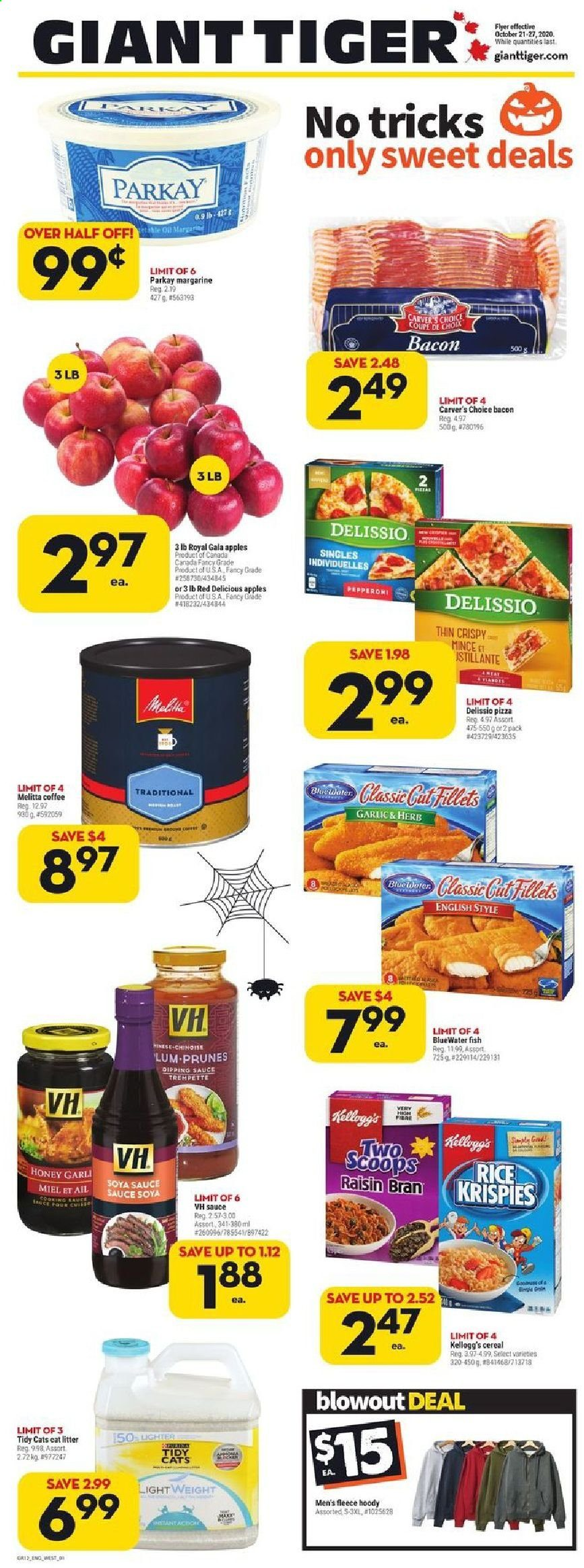 Giant Tiger Flyer - October 21, 2020 - October 27, 2020 - Sales products - bacon, bran, cat litter, cereals, coffee, gala apples, garlic, gin, litter, margarine, red delicious, rice, soya sauce, tiger, honey, pizza, prunes, cereal, sauce, ail, coupe, prune, kellogg's, miel, sauce soya, fish, red delicious apples. Page 1.