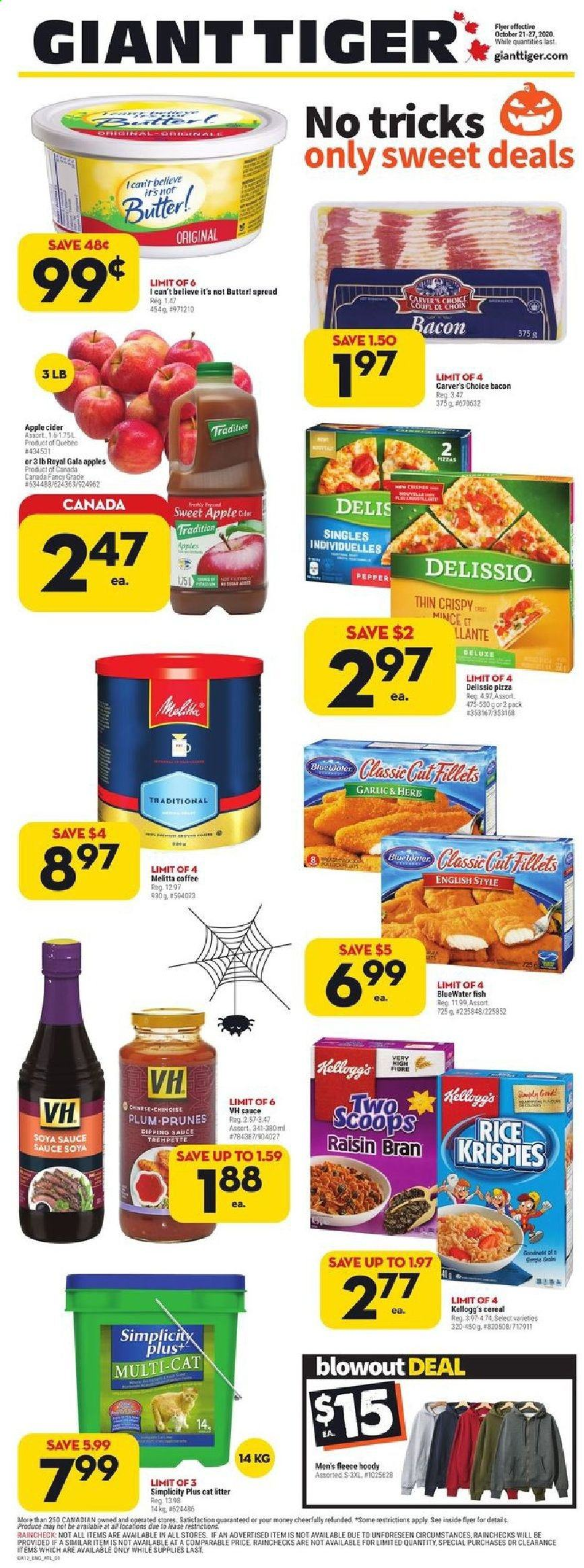 Giant Tiger Flyer - October 21, 2020 - October 27, 2020 - Sales products - apple cider, bacon, bran, butter, cat litter, cereals, coffee, gala apples, garlic, litter, rice, soya sauce, tiger, pizza, prunes, pepper, cereal, herb, sauce, prune, kellogg's, sauce soya, fish, herbs. Page 1.