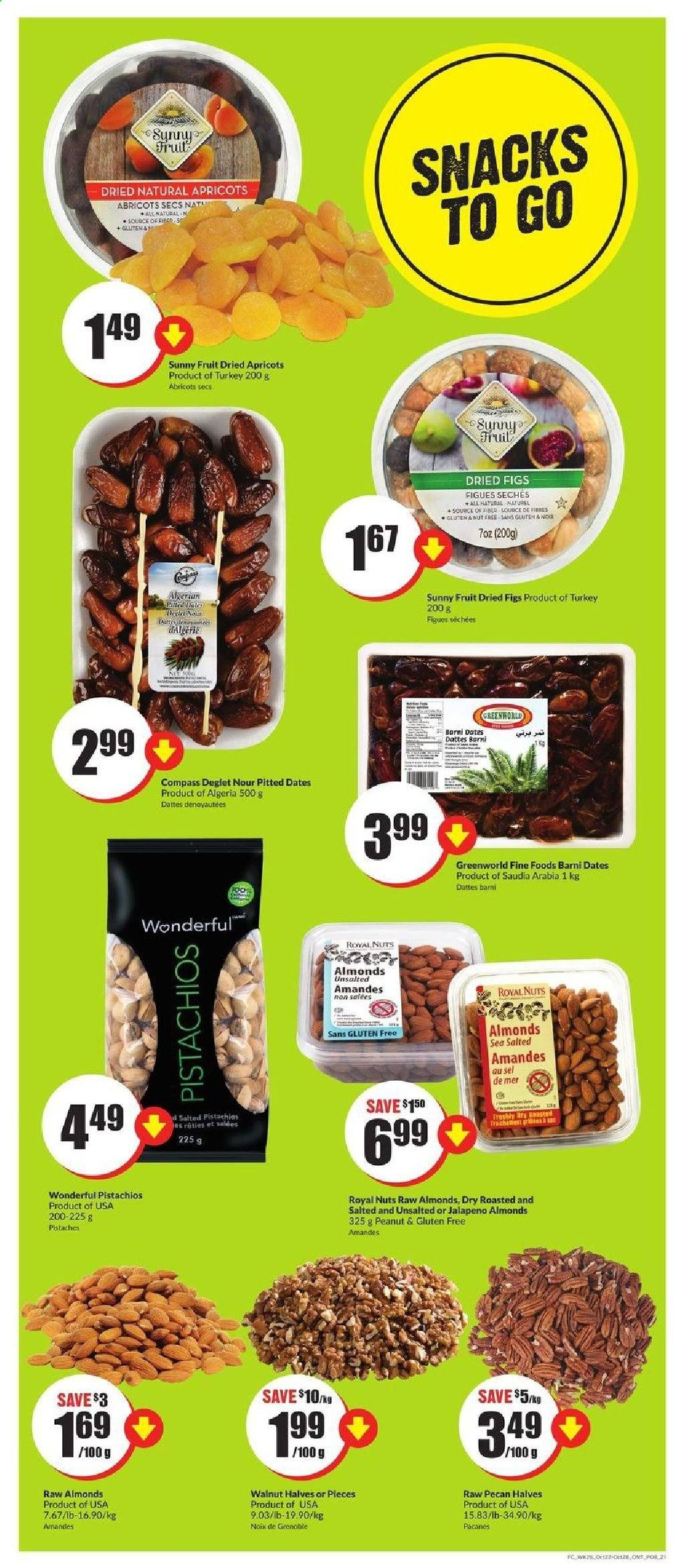 FreshCo. Flyer - October 22, 2020 - October 28, 2020 - Sales products - almonds, apricots, dates, figs, turkey, peanuts, nuts, abricots, amandes, datte, figue, noix, sel, fruits, nut free, gluten free, jalapeno. Page 8.
