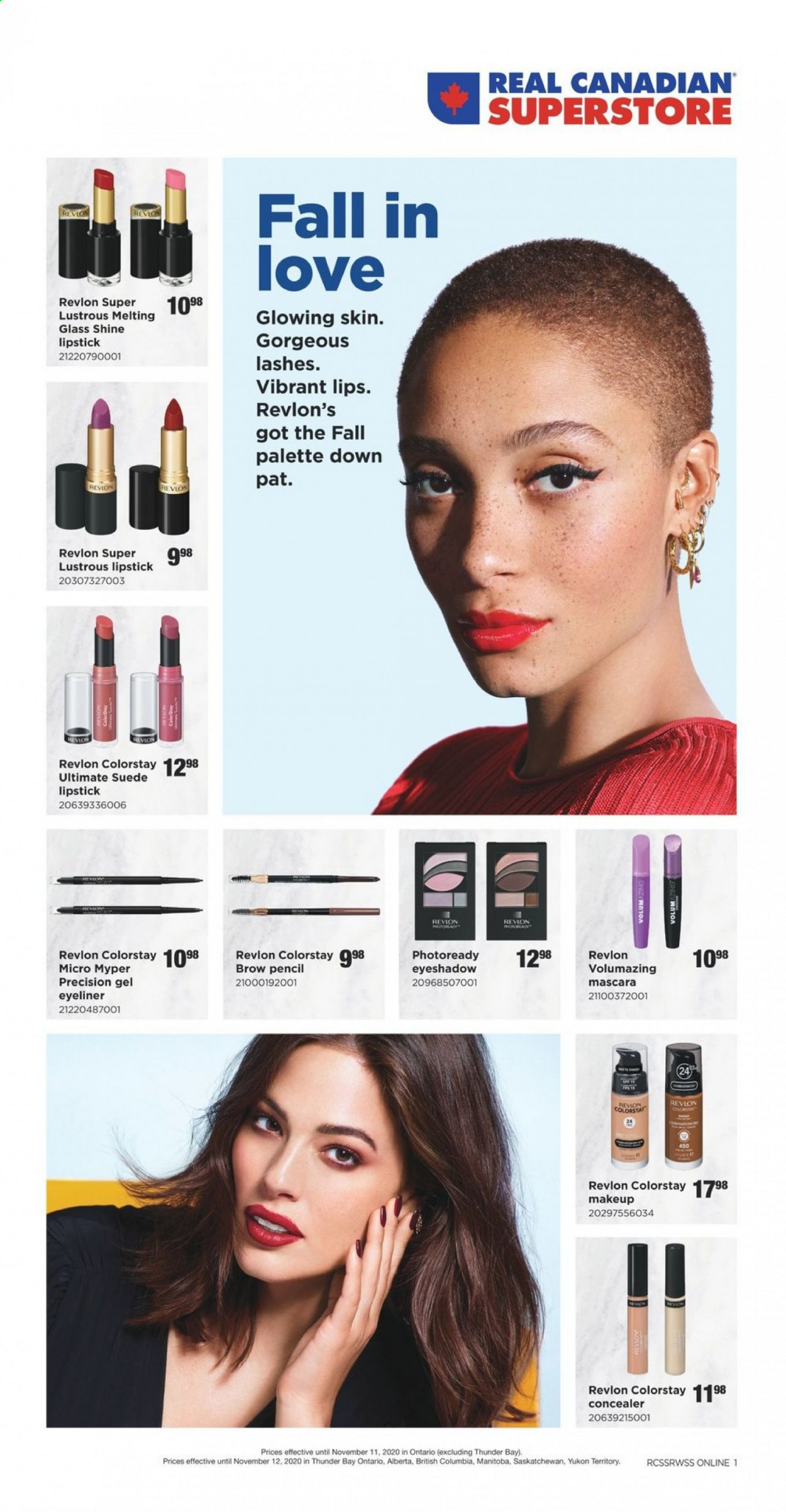 Real Canadian Superstore Flyer - October 22, 2020 - November 12, 2020 - Sales products - concealer, columbia, eyeshadow, lipstick, makeup, mascara, revlon, pet, palette, eyeliner, glass. Page 1.