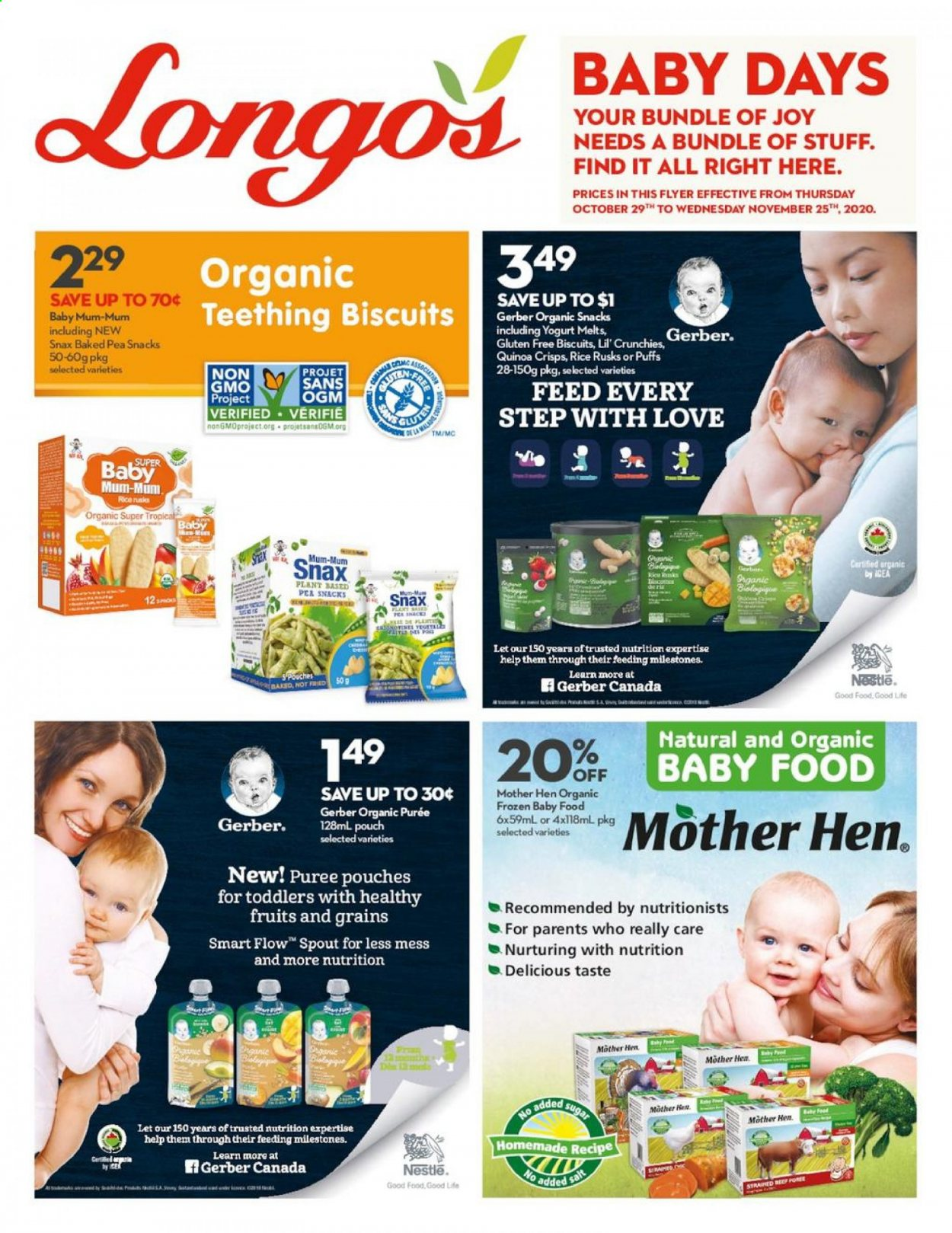 Longo's Flyer - October 29, 2020 - November 25, 2020 - Sales products - biscuits, frozen, Gerber, Nestlé, quinoa, rice, sugar, puffs, snack, salt, rusks. Page 1.