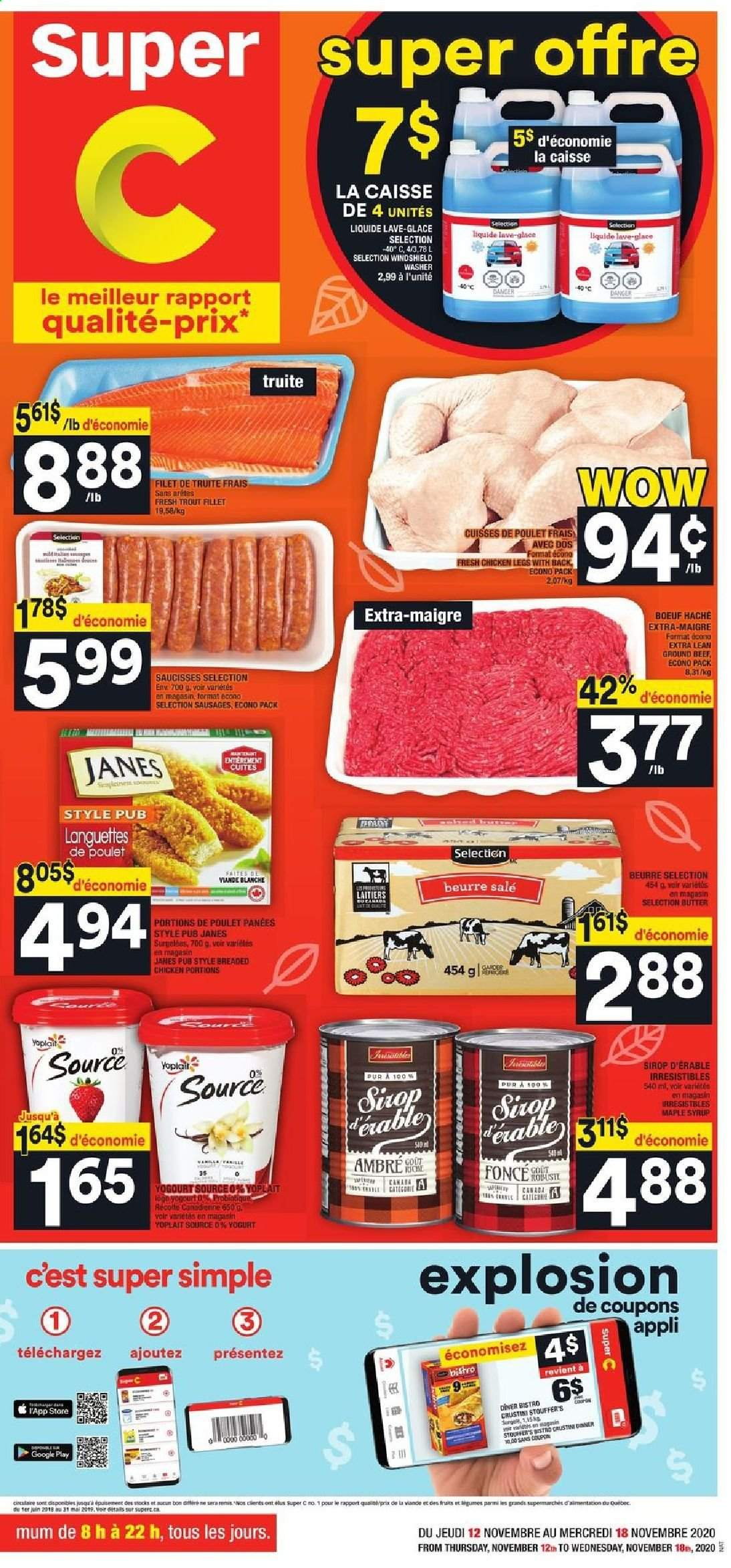 Super C Flyer - November 12, 2020 - November 18, 2020 - Sales products - beef meat, butter, ground beef, maple syrup, sausages, trout, chicken, chicken legs, syrup. Page 1.