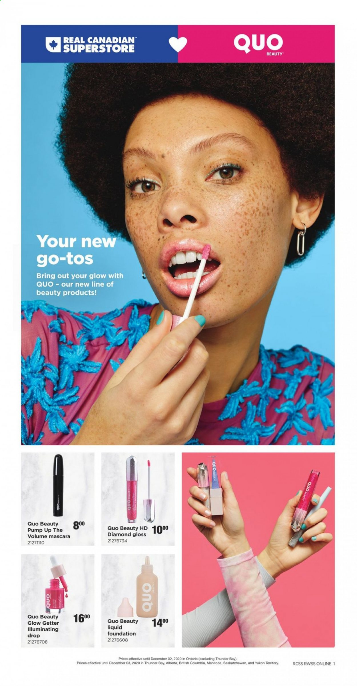 Real Canadian Superstore Flyer - November 12, 2020 - December 03, 2020 - Sales products - columbia, foundation, mascara, pump, liquid. Page 1.