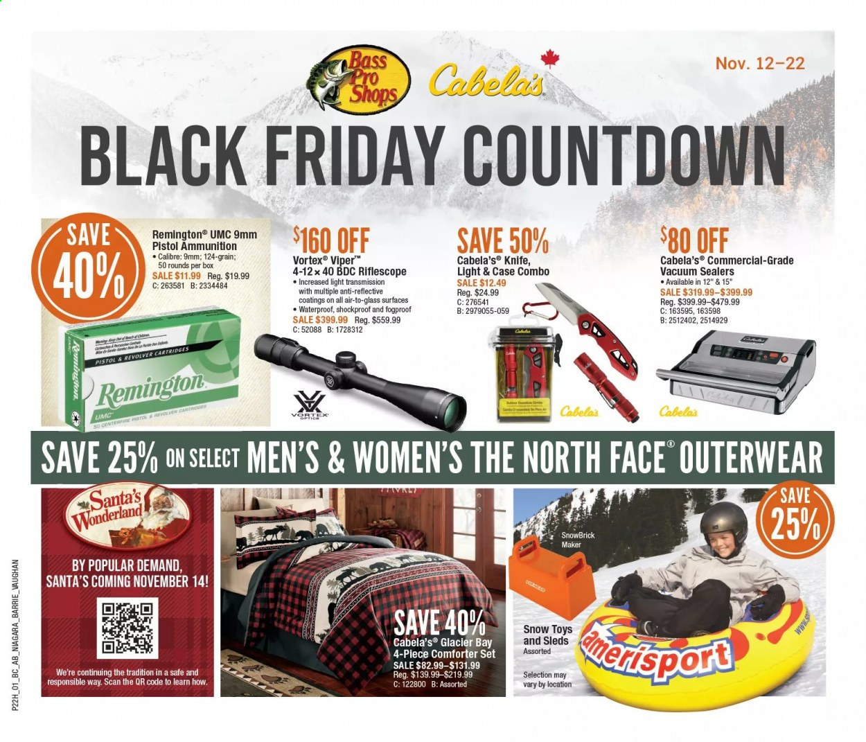 Bass Pro Shops Flyer - November 12, 2020 - November 22, 2020 - Sales products - Bass Pro, comforter, knife, Remington, riflescope, vacuum, viper, VORTEX, pistol, toys, box, glass. Page 1.