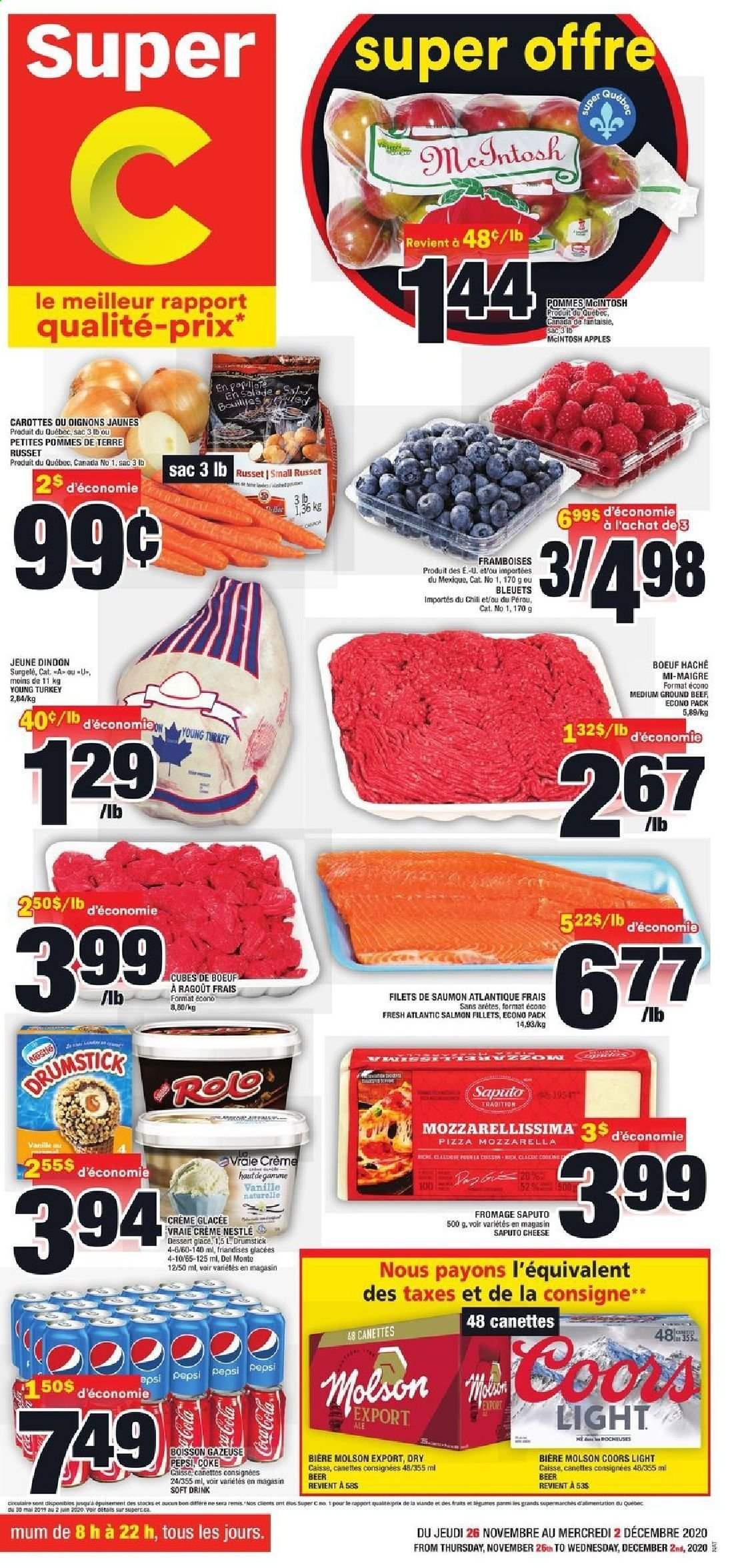 Super C Flyer - November 26, 2020 - December 02, 2020 - Sales products - apples, beef meat, Beer, coca-cola, ground beef, mozzarella, Nestlé, salmon, turkey, pizza, Pepsi, cheese, Apple, Coors, soft drink. Page 1.
