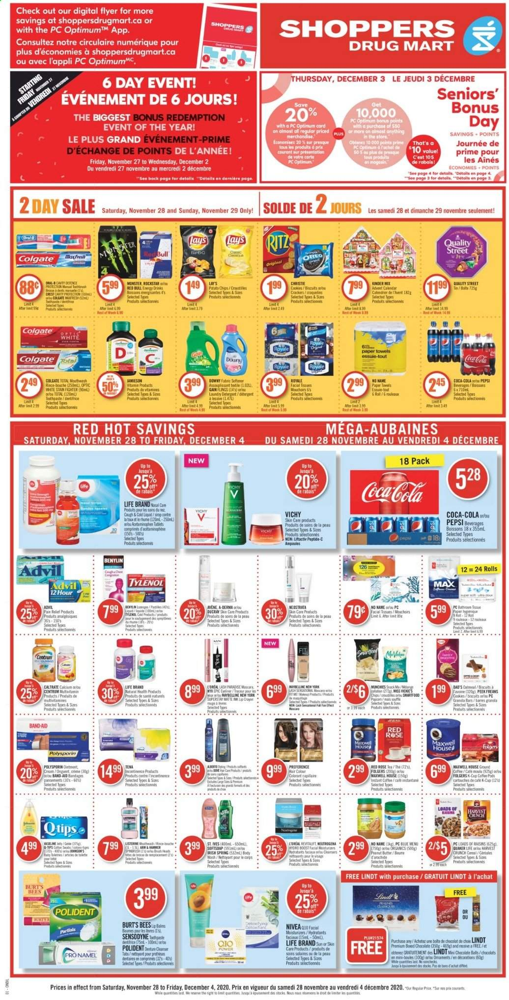 Shoppers Drug Mart Flyer - November 28, 2020 - December 04, 2020 - Sales products - advil, band-aid, biscuits, body wash, brush, butter, calcium, calendar, cereals, cleanser, Coca-Cola, coffee pods, cookies, detergent, Dove, Downy, Colgate, facial tissues, Gain, granola, granola bars, L'Oréal, LG, lip crayon, Listerine, mascara, Maxwell House, Maybelline, moisturizer, multivitamin, Neutrogena, raisins, Softsoap, Tylenol, Vichy, potato chips, Pain Relief, paper towel, peanut butter, peanuts, Pepsi, Nivea, oatmeal, ointment, Oreo, Oral-b, chips, chocolate, toothpaste, snack, hammer, softener, monster, Lay's, Sensodyne, Lindt, mouthwash, tissues, rolls, Tablets, laundry detergent, Folgers, ground coffee. Page 1.