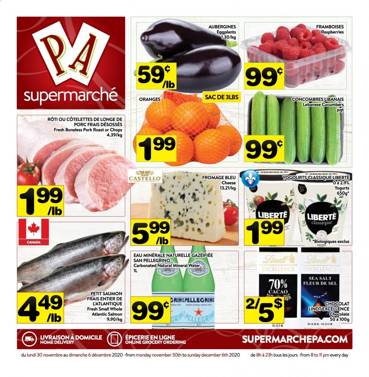 PA Supermarché Flyer - November 30, 2020 - December 06, 2020 - Sales products - cucumbers, eggplants, mineral water, raspberries, salmon, pork meat, pork roast, chocolate, cheese, salt, sea salt. Page 1.