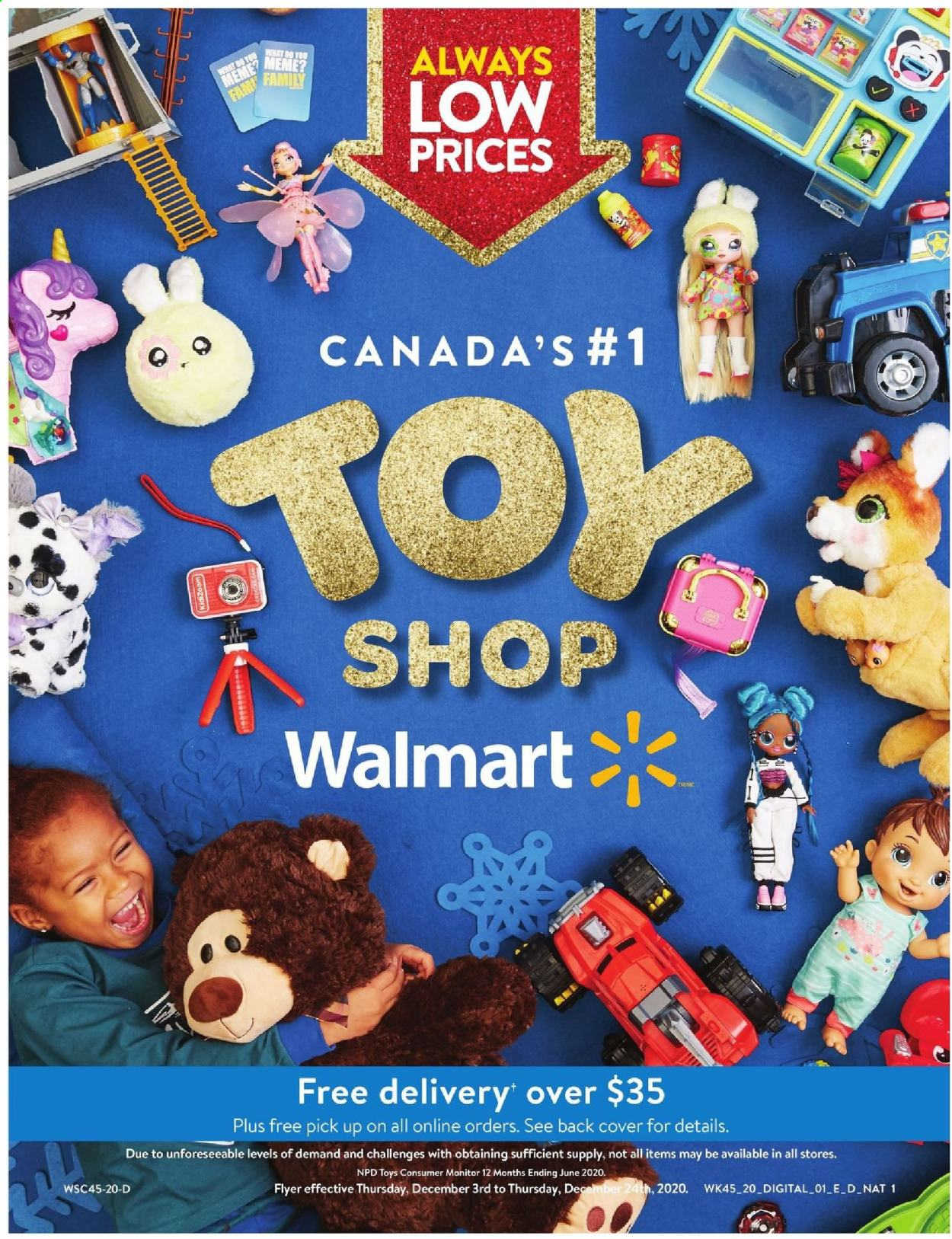 Walmart Flyer - December 03, 2020 - December 24, 2020 - Sales products - monitor, toys. Page 1.