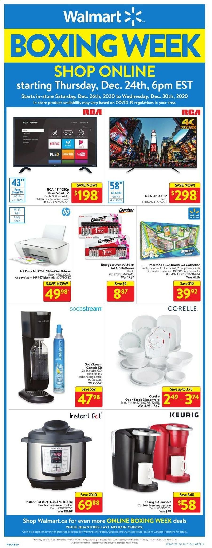 Walmart Flyer - December 26, 2020 - December 30, 2020 - Sales products - all-in-one printer, battery, coffee, Energizer, rca, smart tv, HP, pot, pressure cooker, printer, Instant Pot, canister, all-in-one. Page 1.