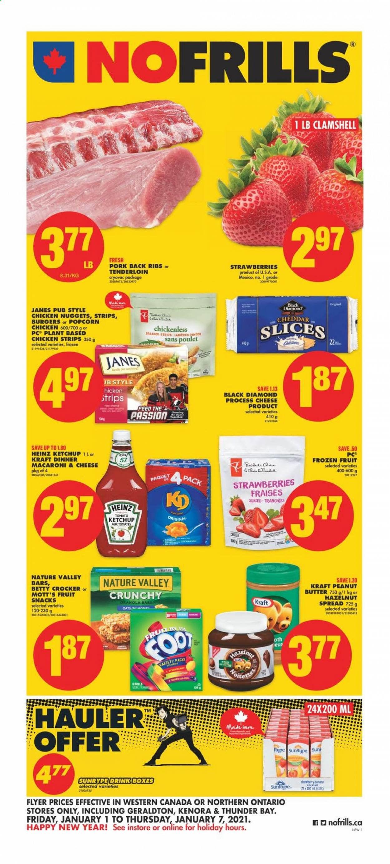No Frills Flyer - January 01, 2021 - January 07, 2021 - Sales products - butter, frozen, granola, granola bars, macaroni & cheese, strawberries, Heinz, honey, ketchup, pork meat, cheddar, chicken, peanut butter, peanuts, oats, cheese, macaroni, snack, nuggets, ribs, box, burger. Page 1.