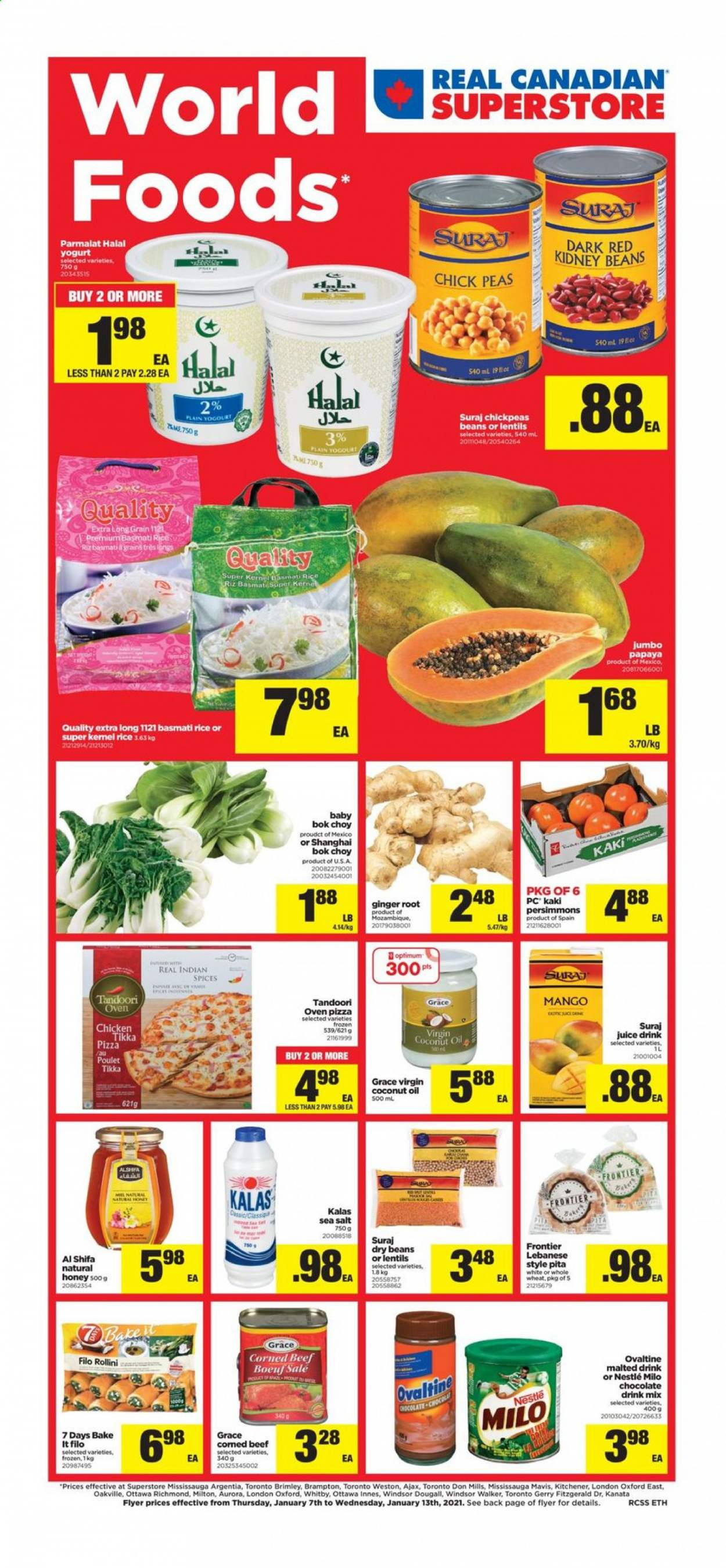 Real Canadian Superstore Flyer - January 07, 2021 - January 13, 2021 - Sales products - basmati rice, beans, beef meat, bok choy, coconut oil, corned beef, filo dough, frozen, ginger, lentils, Nestlé, rice, Tikka, honey, kidney beans, pita, pizza, pizza oven, chicken, papaya, peas, persimmons, oven, chickpeas, chocolate, juice, coconut, salt, sea salt. Page 1.
