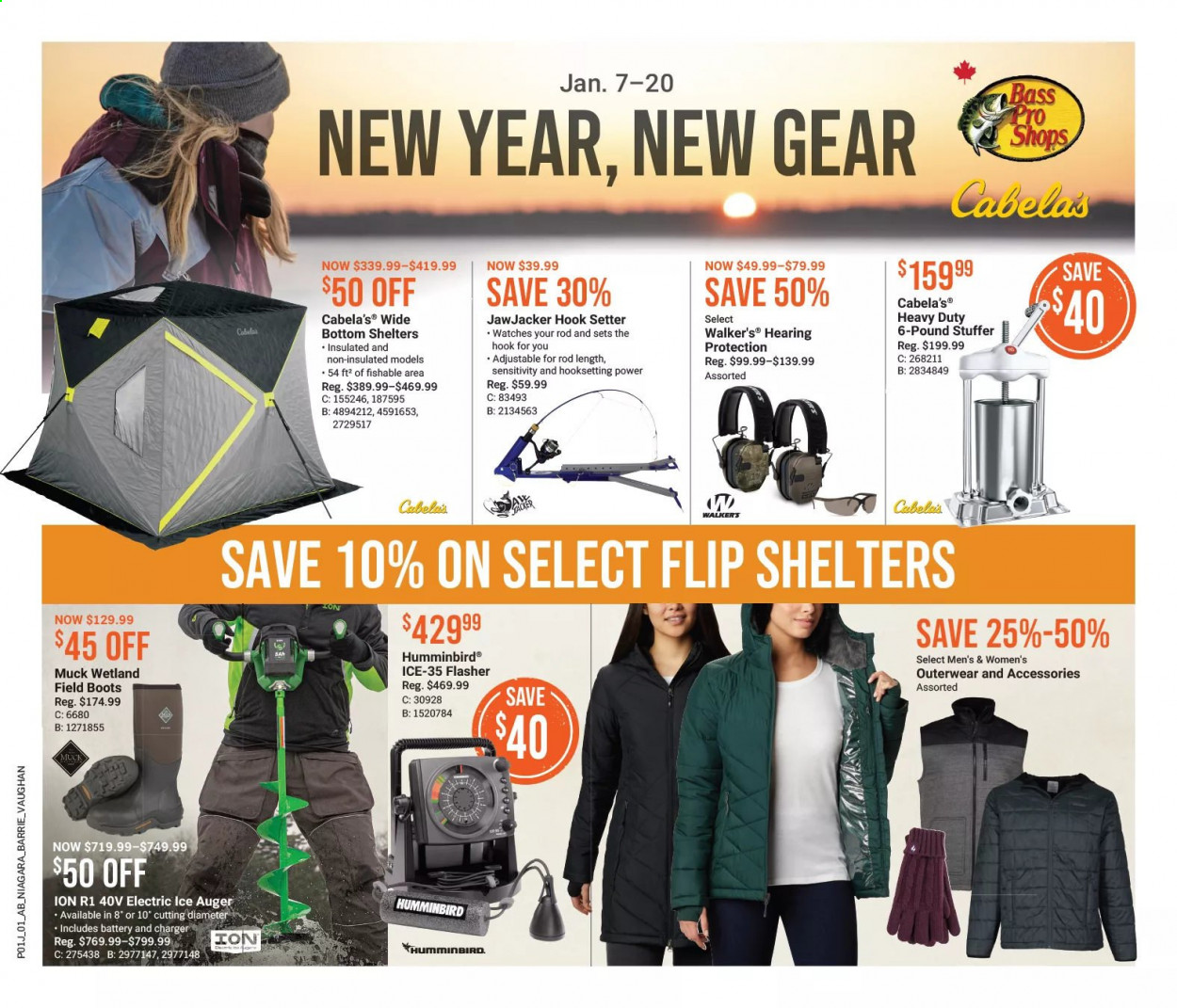 Bass Pro Shops Flyer - January 07, 2021 - January 20, 2021 - Sales products - boots, watch, hook, charger, ice auger. Page 1.