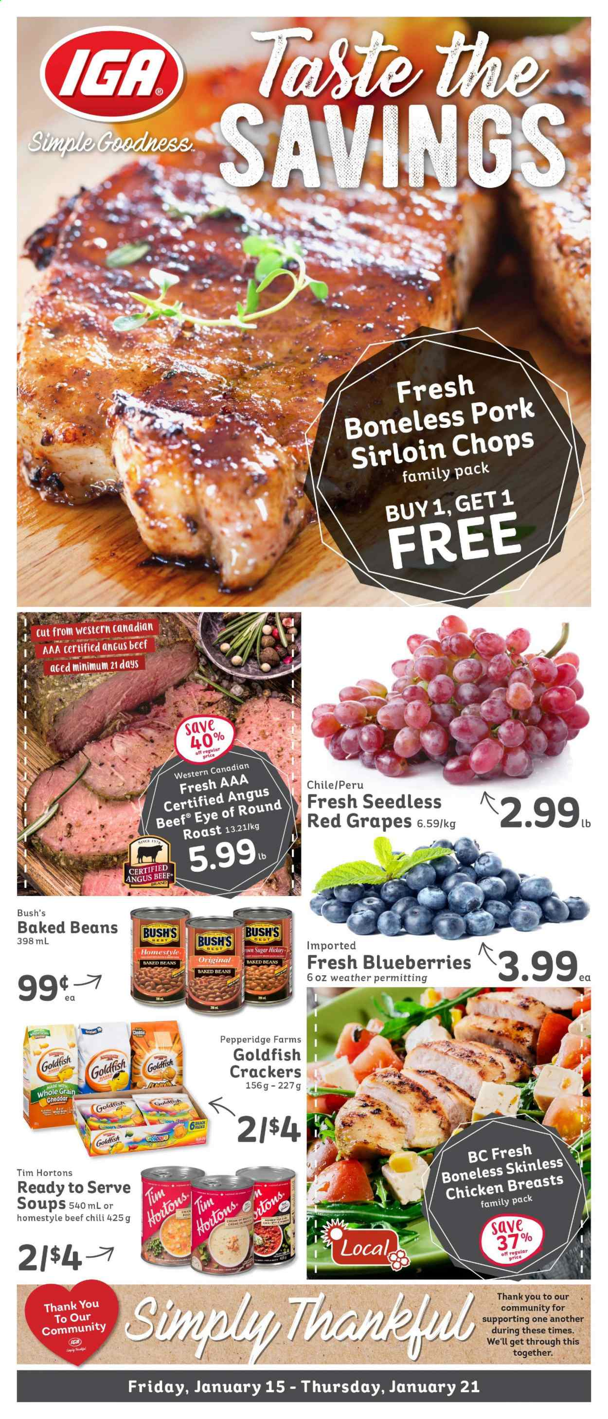 IGA Simple Goodness Flyer - January 15, 2021 - January 21, 2021 - Sales products - cheddar. Page 1.