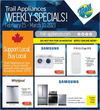 Trail Appliances Flyer - February 25, 2021 - March 10, 2021.