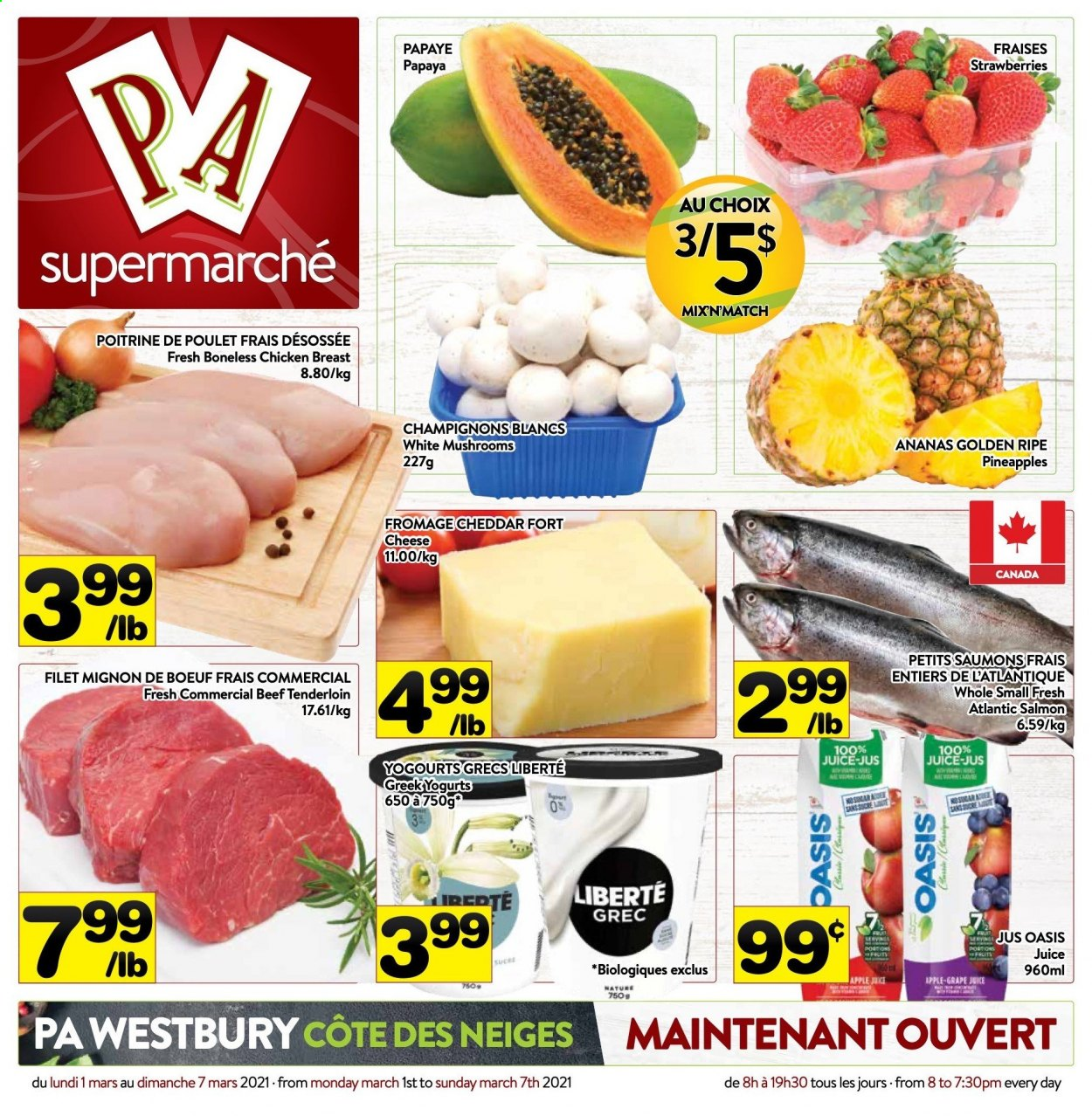 PA Supermarché Flyer  - March 01, 2021 - March 07, 2021. Page 1.