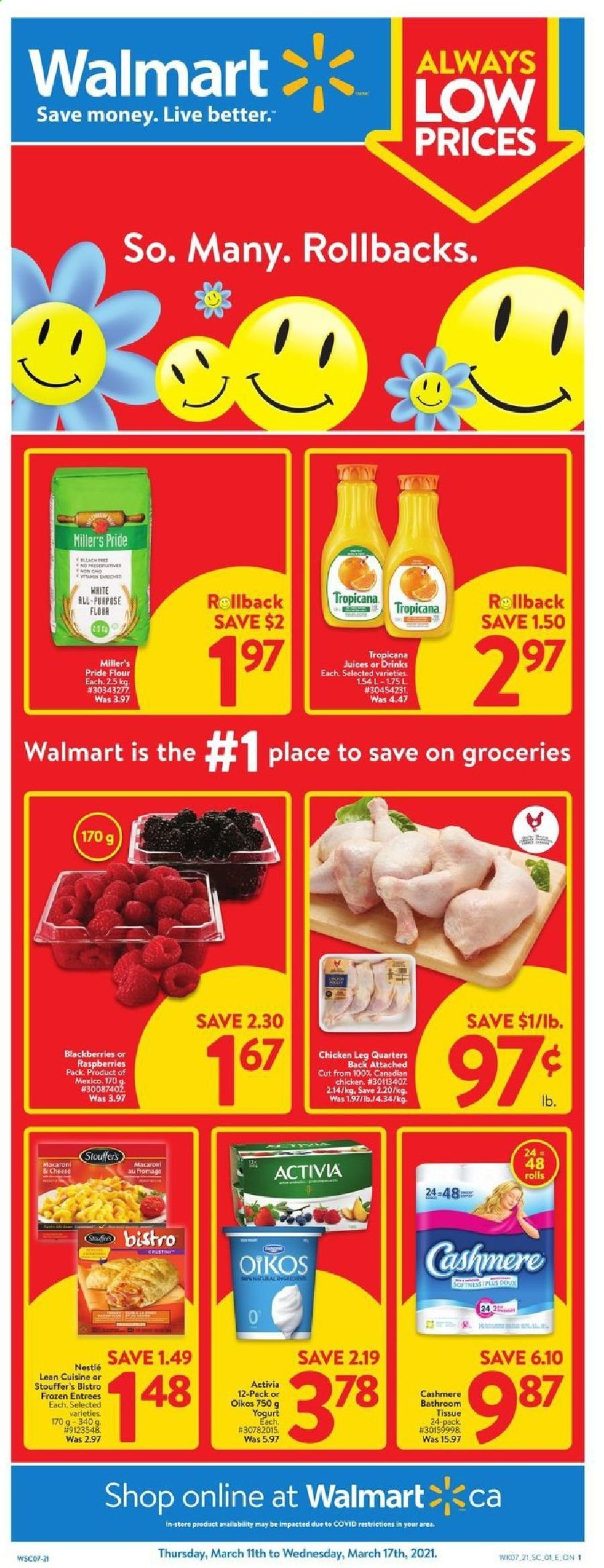 Walmart Flyer  - March 11, 2021 - March 17, 2021. Page 1.
