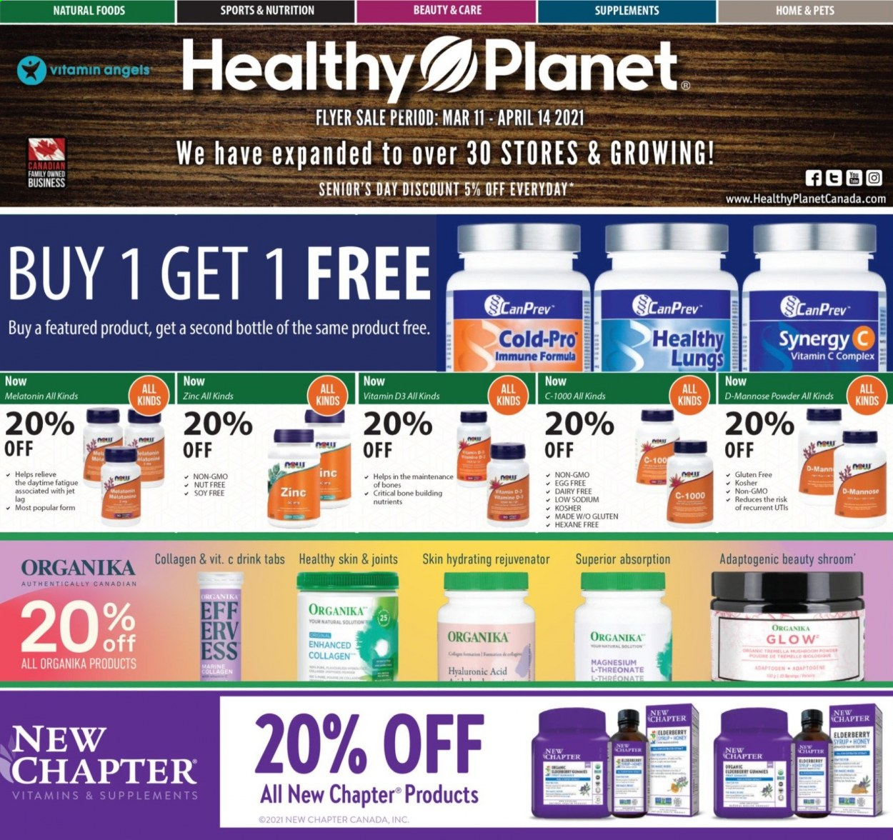 Healthy Planet Flyer  - March 11, 2021 - April 14, 2021. Page 1.