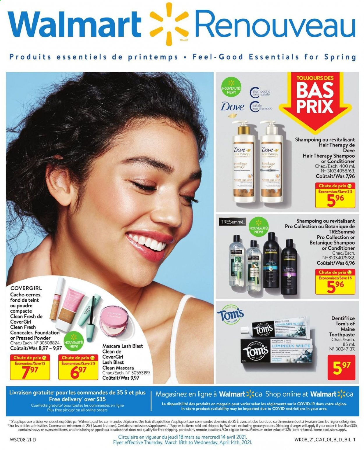Walmart Flyer - March 18, 2021 - April 14, 2021 - Sales products - essentials. Page 1.