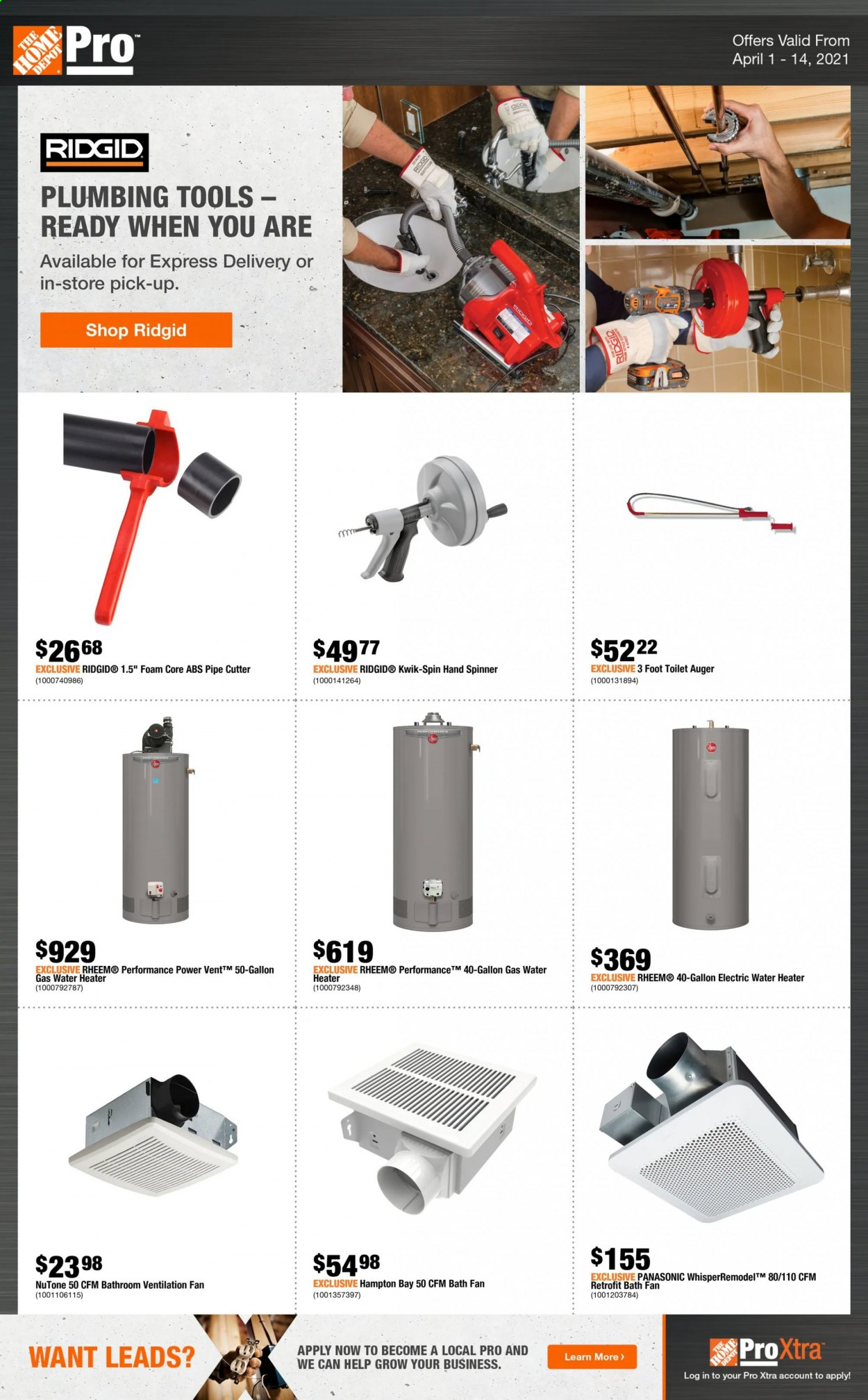 The Home Depot Flyer - April 01, 2021 - April 14, 2021 - Sales products - water. Page 1.