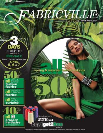 Fabricville Flyer - April 05, 2021 - May 02, 2021.