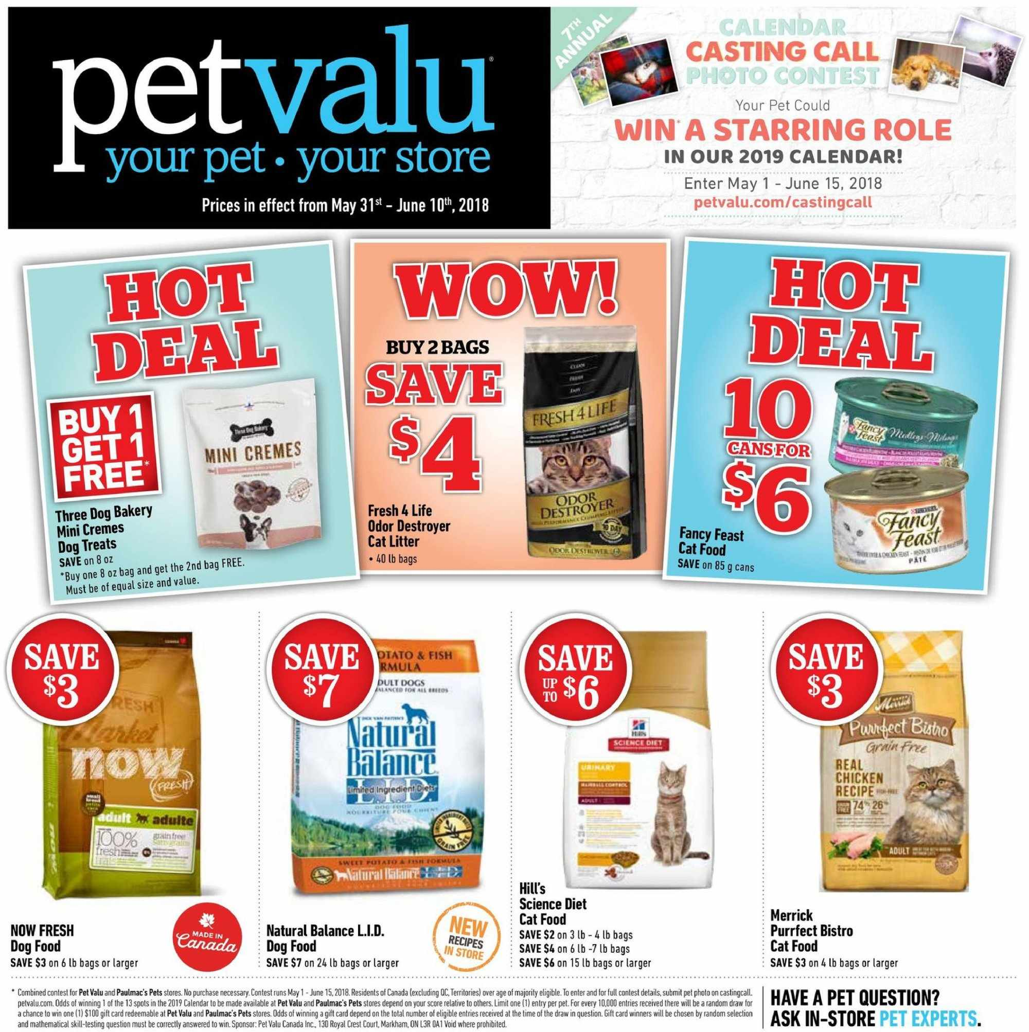 Pet Valu Flyer - May 31, 2018 - June 10, 2018 - Sales products - animal food, bag, calendar, cat food, cat litter, dog food, litter, merrick, science diet, pet, chicken, photo. Page 1.