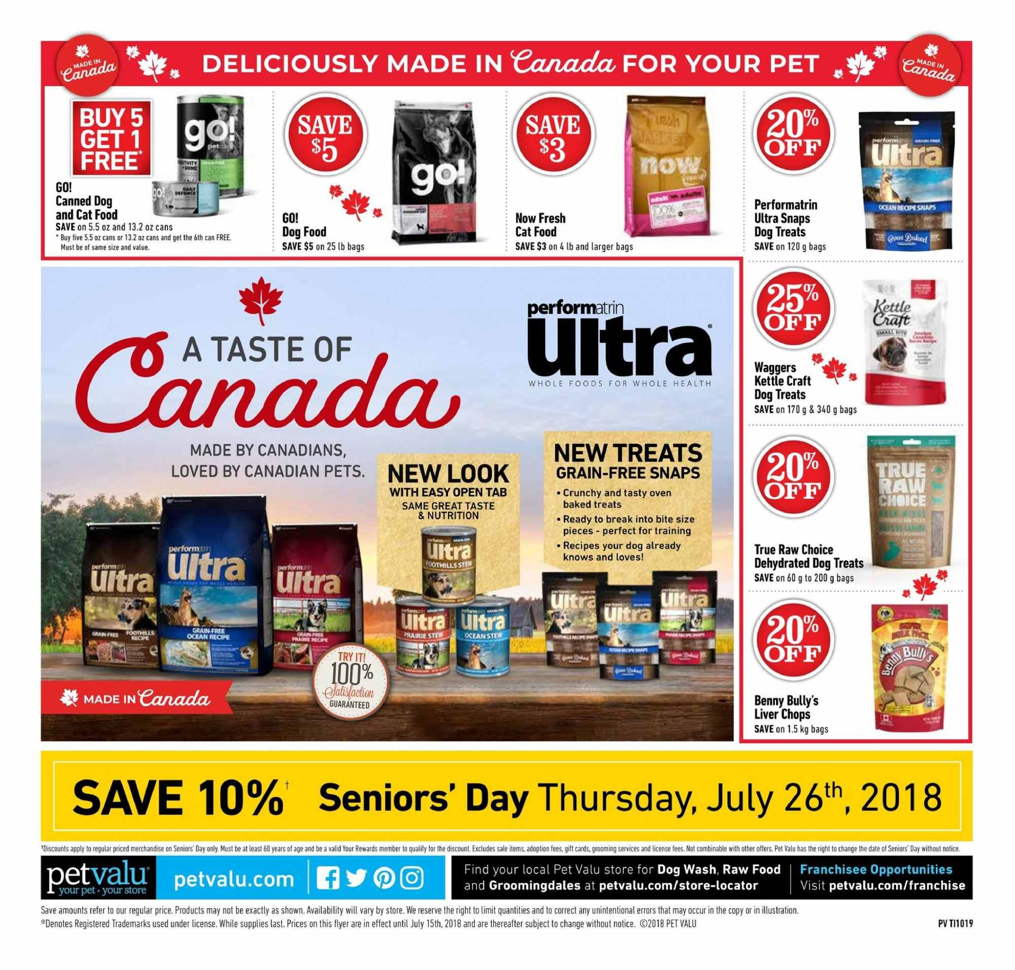 Pet Valu Flyer - July 05, 2018 - July 15, 2018 - Sales products - animal food, bag, cat food, dog food, pet, pets. Page 4.