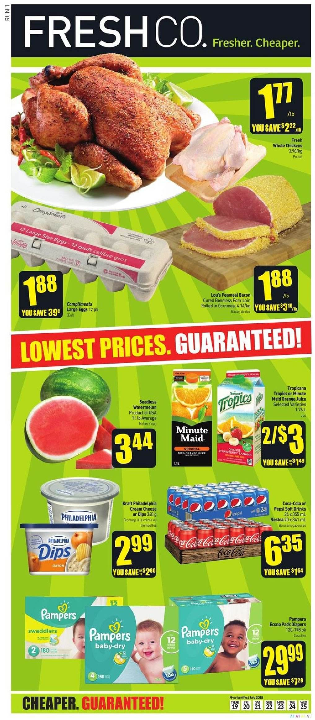 FreshCo. Flyer  - July 19, 2018 - July 25, 2018. Page 1.