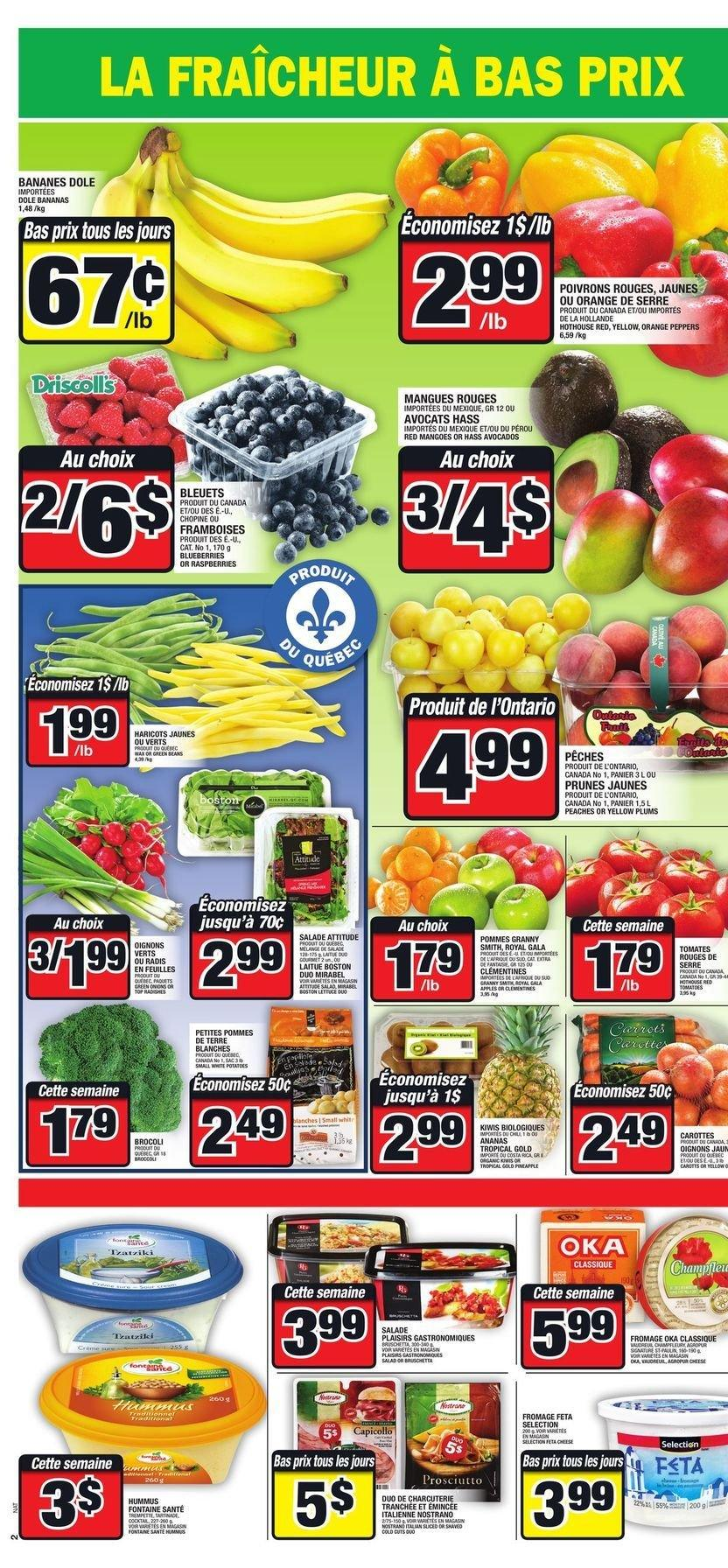 Super C Flyer - July 26, 2018 - August 01, 2018 - Sales products - avocado, bananas, blueberries, fêta, mango, raspberries, hummus, plums, prunes, peaches, salade, ananas, banane, feuilles, fromage, haricot, prune, oignons, orange, panier, poivrons, pommes de terre, radis, pêche. Page 4.
