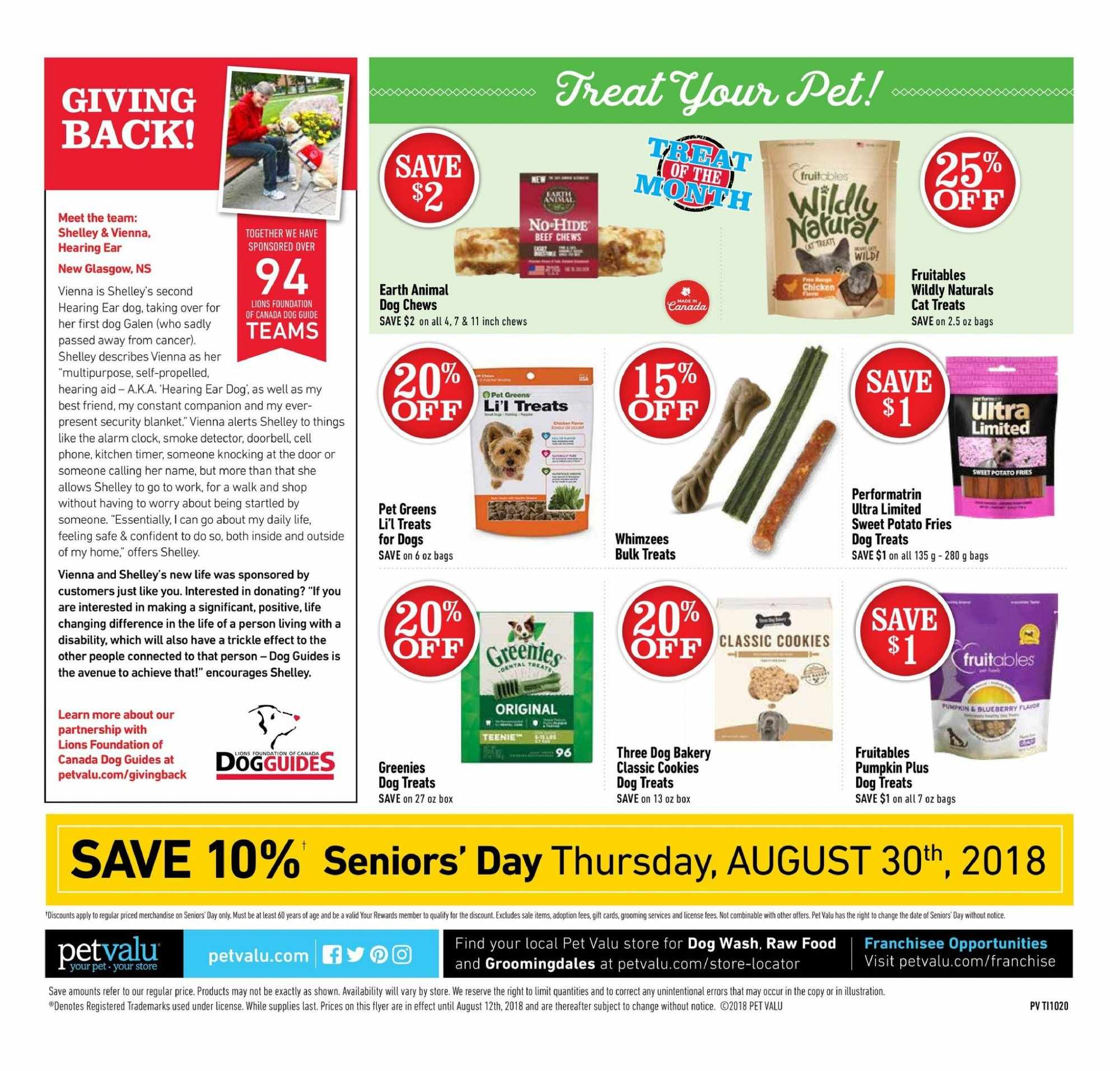 Pet Valu Flyer - August 02, 2018 - August 12, 2018 - Sales products - bag, beef meat, blanket, clock, cookies, door, doorbell, foundation, kitchen timer, safe, sweet potatoes, timer, pet, potato fries, smoke detector. Page 4.