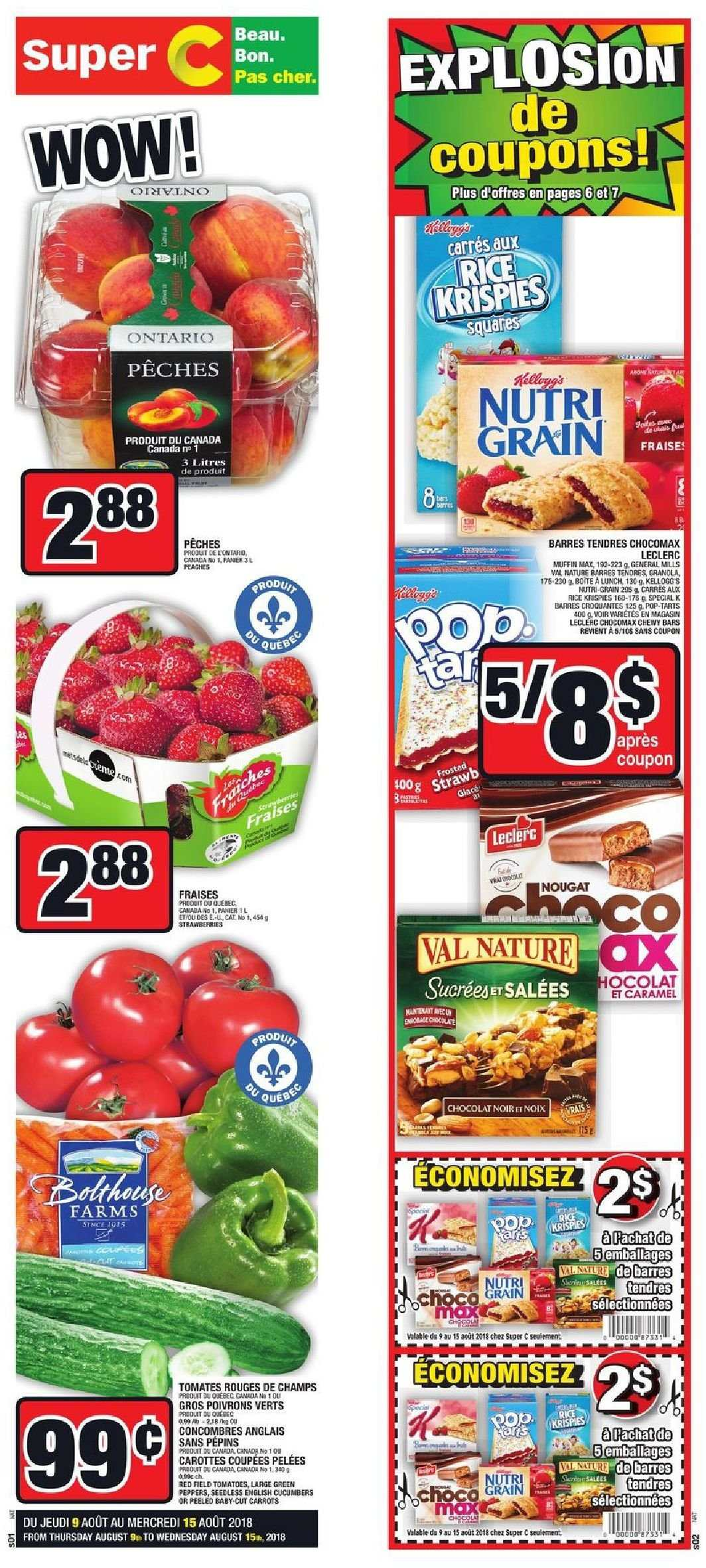 Super C Flyer - August 09, 2018 - August 15, 2018 - Sales products - caramel, carrots, cucumbers, granola, rice, tomatoes, champs, peaches, tomates, chocolat, carotte, fraise, nougat, poivrons, pêche. Page 8.