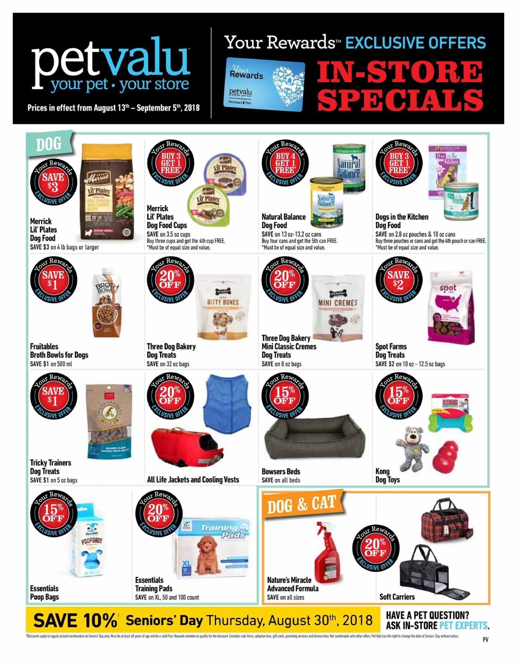 Pet Valu Flyer  - August 13, 2018 - September 05, 2018. Page 1.