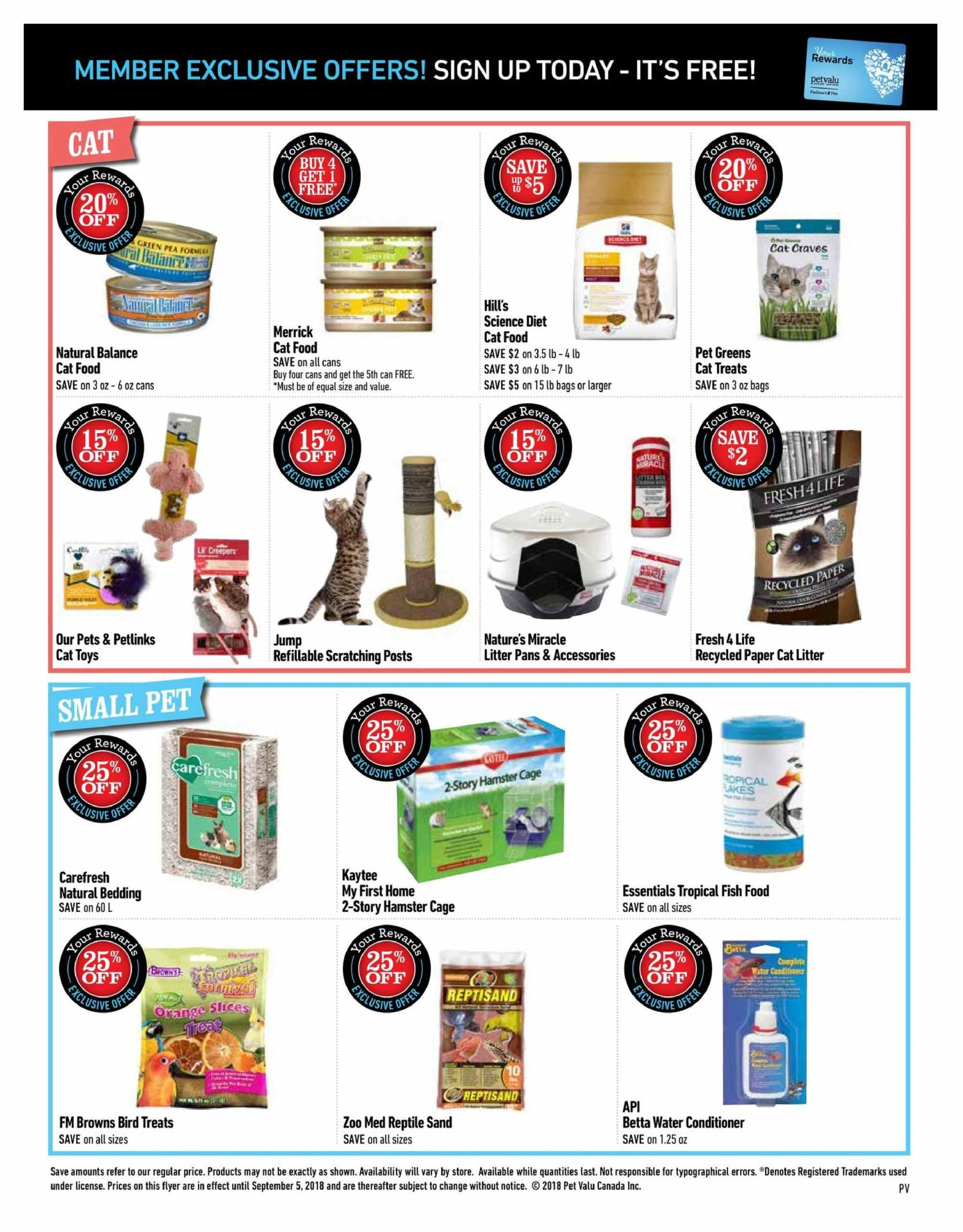 Pet Valu Flyer - August 13, 2018 - September 05, 2018 - Sales products - animal food, bag, bedding, cat food, cat litter, cat toys, conditioner, litter, merrick, science diet, pet, toys, four, pets. Page 2.
