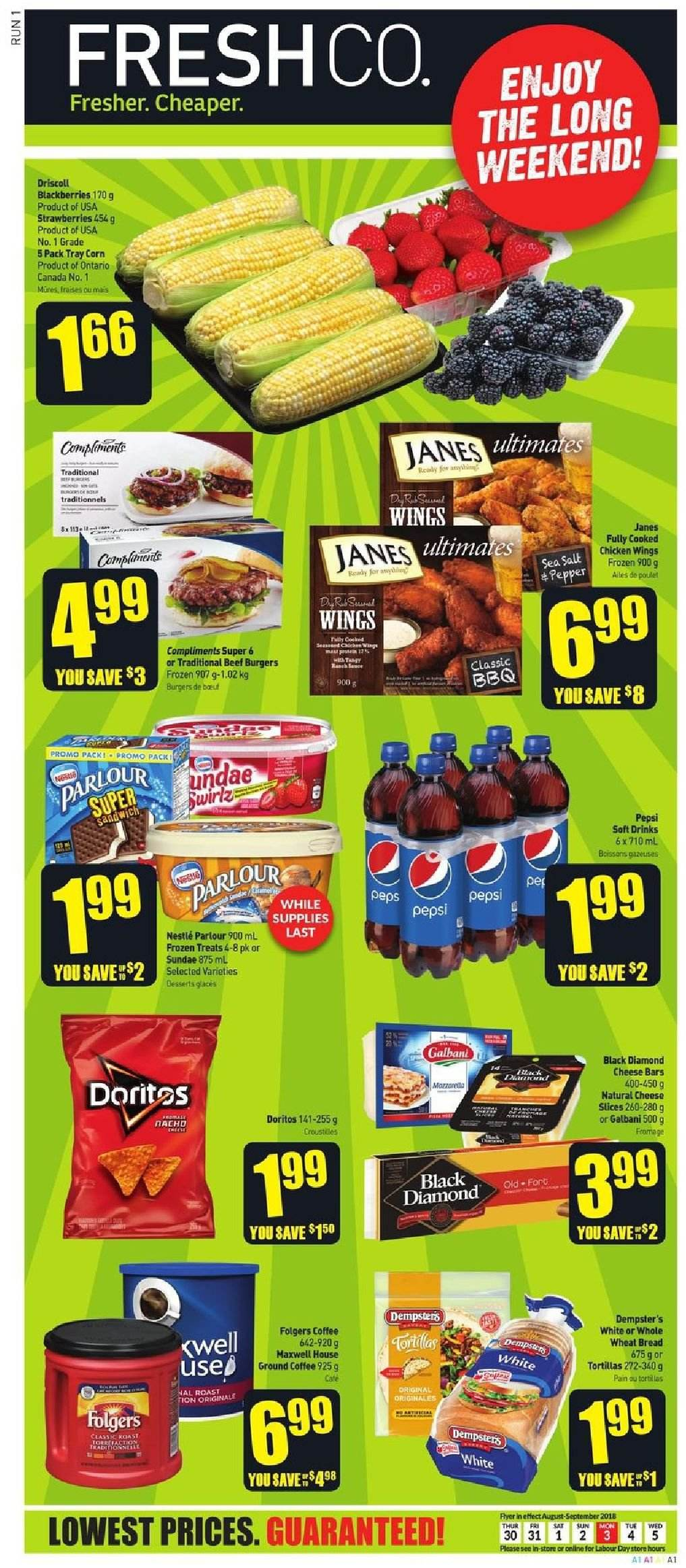 FreshCo. Flyer  - August 30, 2018 - September 05, 2018. Page 1.