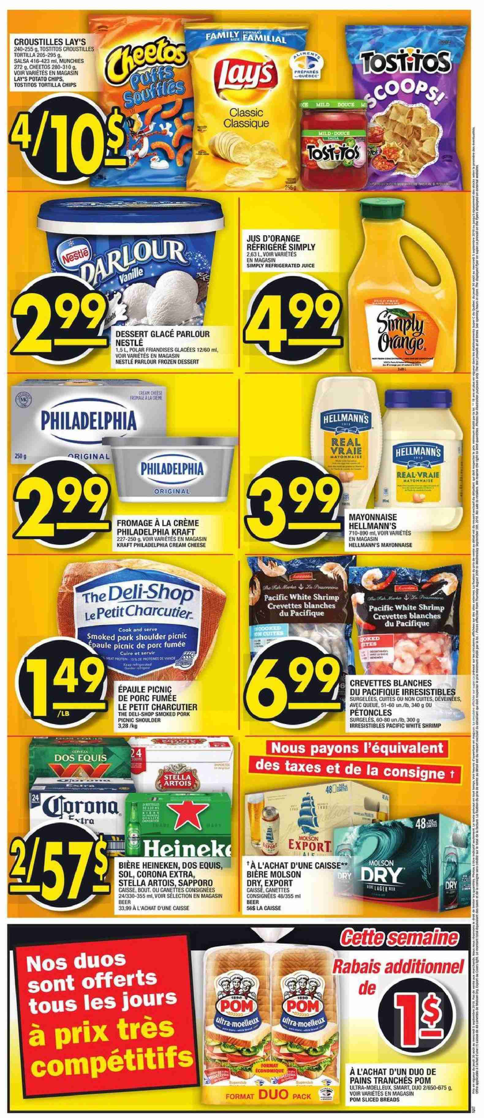 Super C Flyer - August 30, 2018 - September 05, 2018 - Sales products - beer, corona extra, cream, cream cheese, crème, frozen, mayonnaise, nestlé, shrimp, stella artois, tortilla chips, philadelphia, pork meat, pork shoulder, potato chips, cheetos, chips, cheese, juice, dessert, salsa, lay's, porc, bière, crevette, fromage, glace, tortilla, jus d'orange, jus. Page 2.