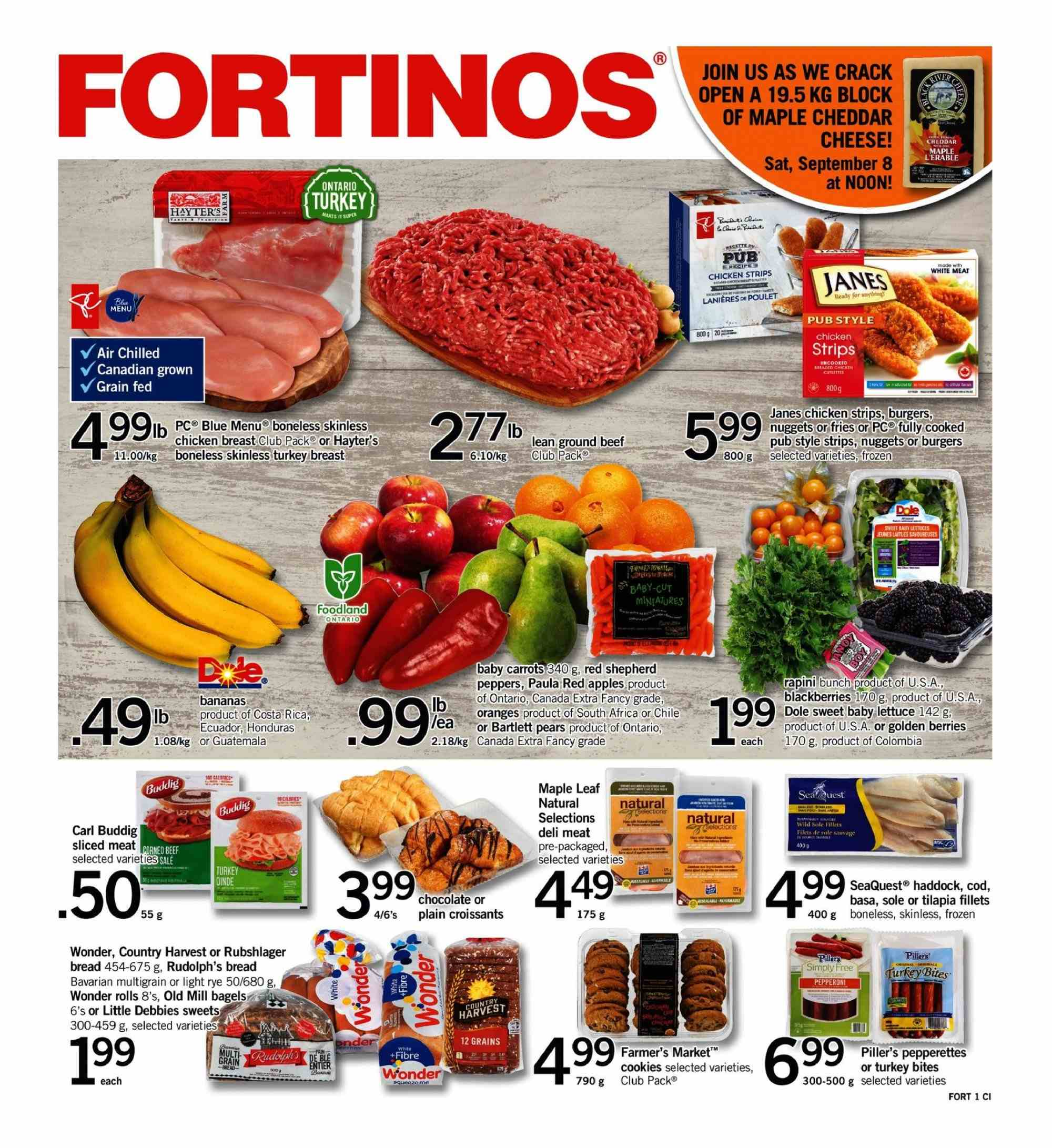 Fortinos Flyer  - September 06, 2018 - September 12, 2018. Page 1.