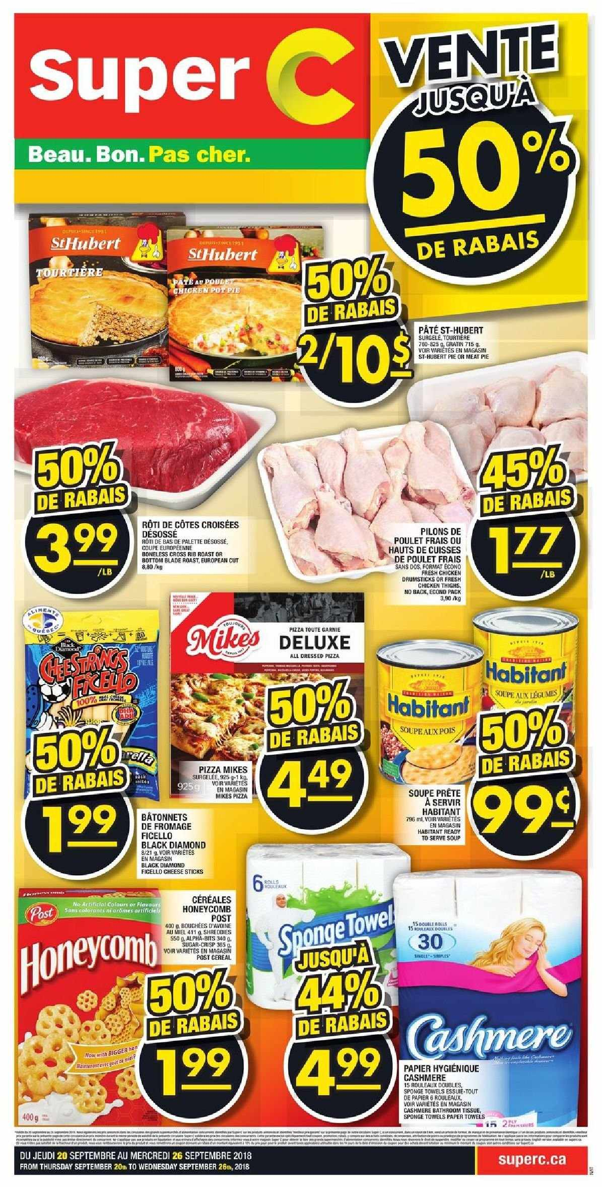 Super C Flyer - September 20, 2018 - September 26, 2018 - Sales products - bottom, cereals, sugar, towel, pizza, chicken, chicken drumsticks, palette, paper towel, chicken thighs, cheese, pie, sponge, cereal, poulet, coupe, fromage, soupe, miel, pâtes. Page 1.