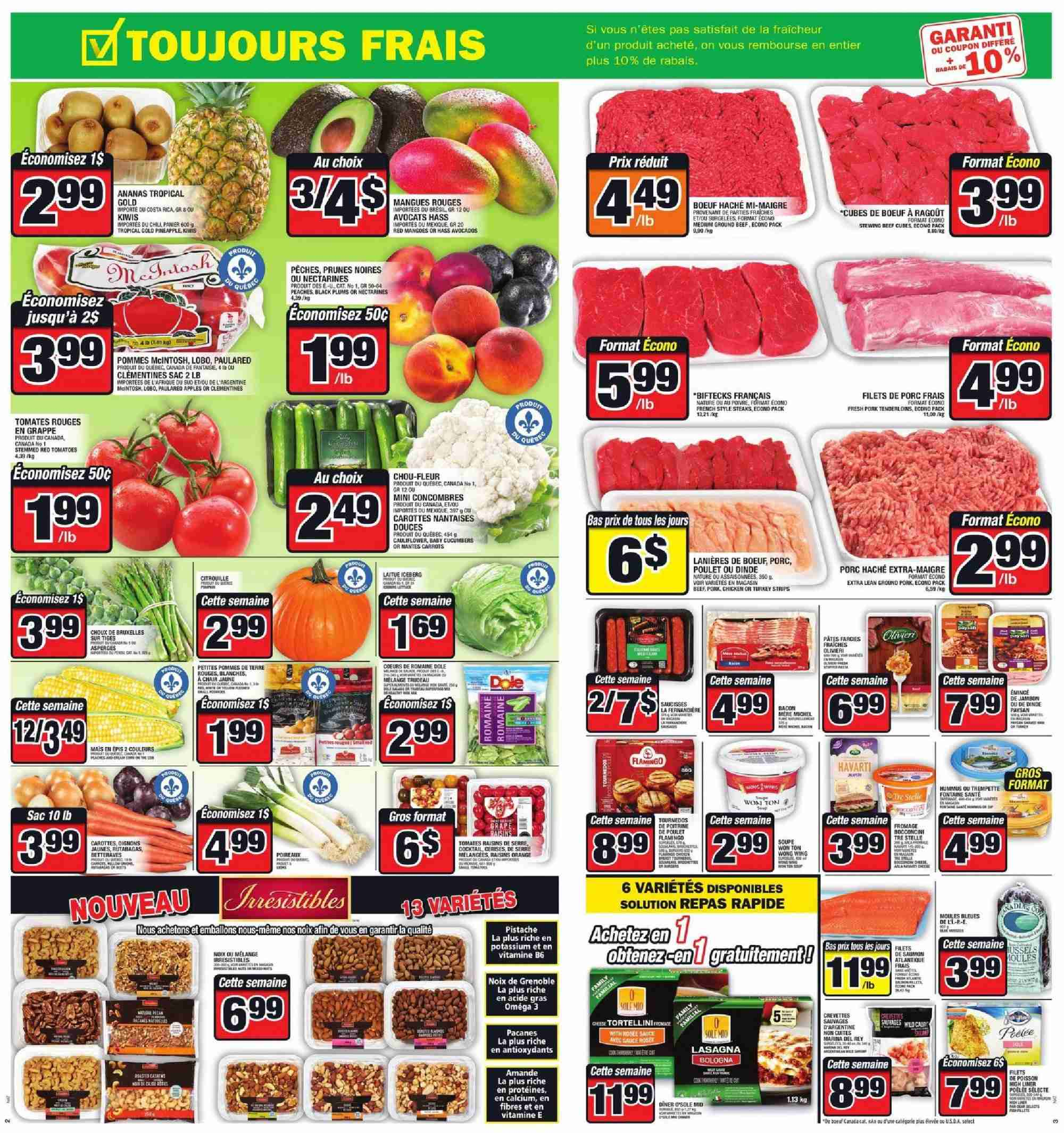 Super C Flyer - September 20, 2018 - September 26, 2018 - Sales products - apples, avocado, beef meat, carrots, cauliflower, clémentines, cucumbers, ground beef, mango, nectarines, raisins, tomatoes, chair, pineapple, plums, pork meat, prunes, chicken, omo, tomates, poulet, pommes, porc, ananas, bœuf, carotte, prune, mcintosh, nectarine, noix, panier, sac, pêche. Page 2.