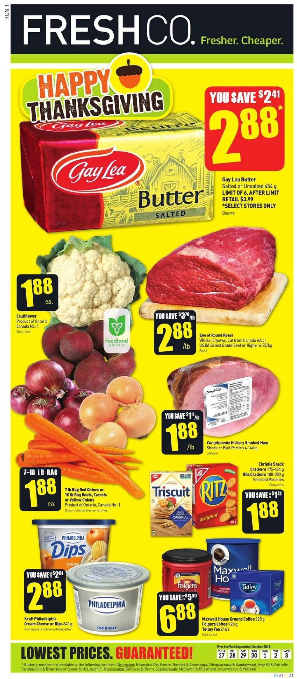FreshCo. Flyer  - September 27, 2018 - October 03, 2018. Page 1.