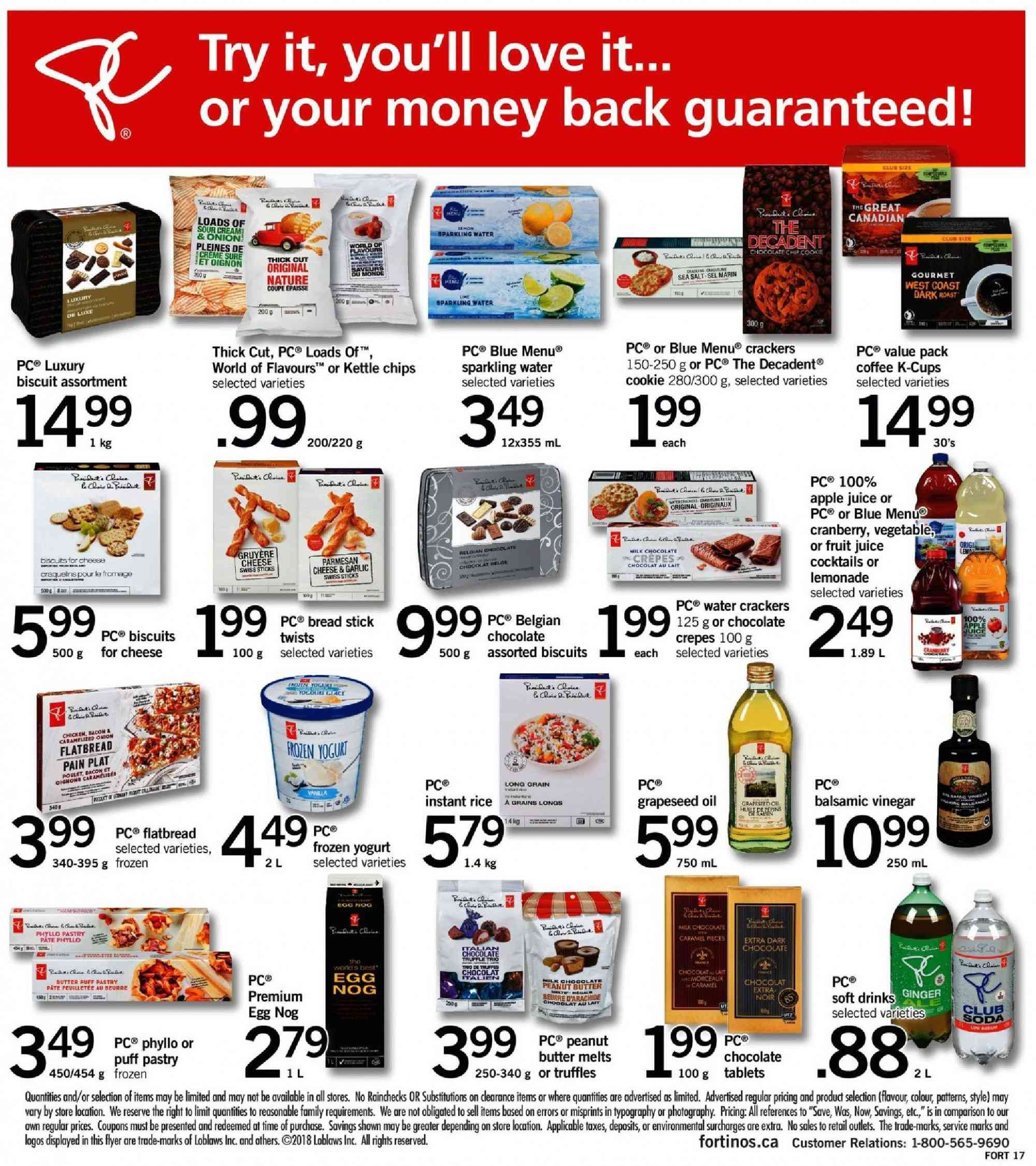 Fortinos Flyer - September 27, 2018 - October 03, 2018 - Sales products - water. Page 17.