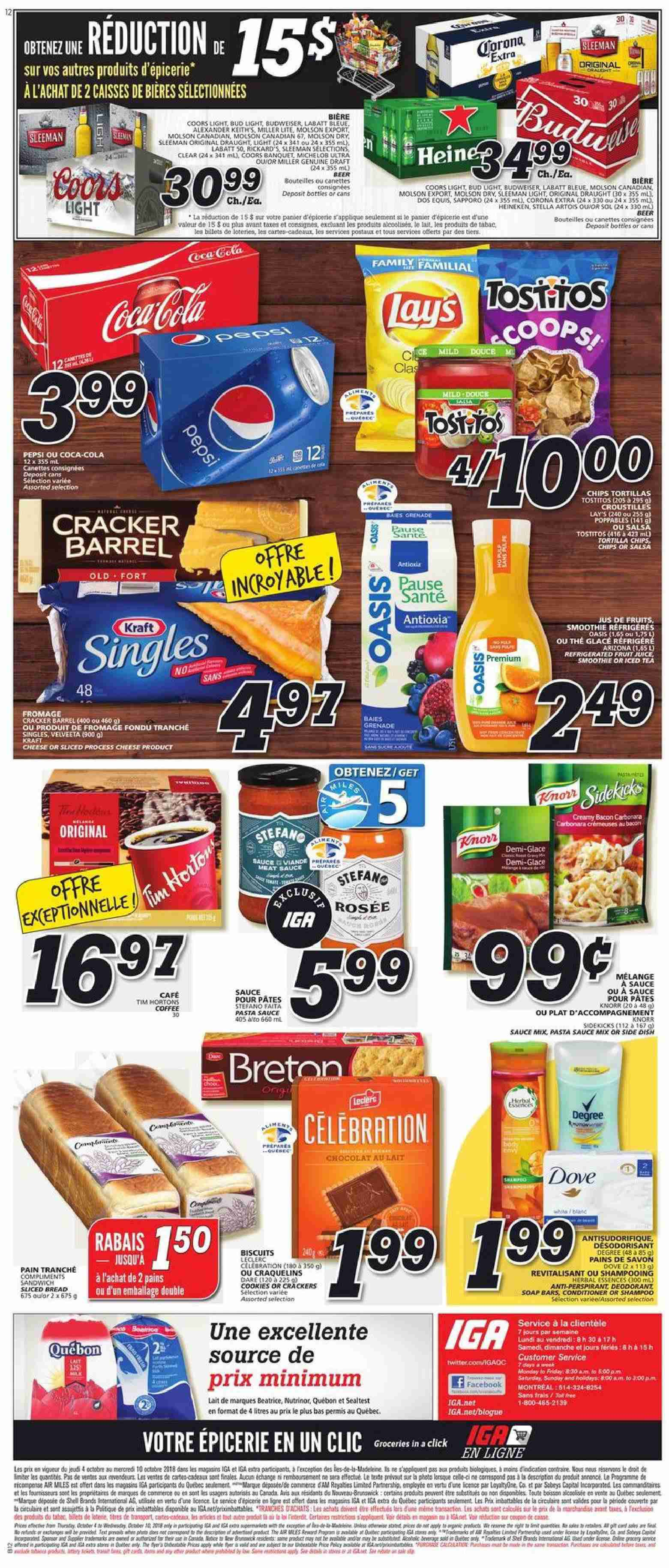 IGA Flyer  - October 04, 2018 - October 10, 2018. Page 12.