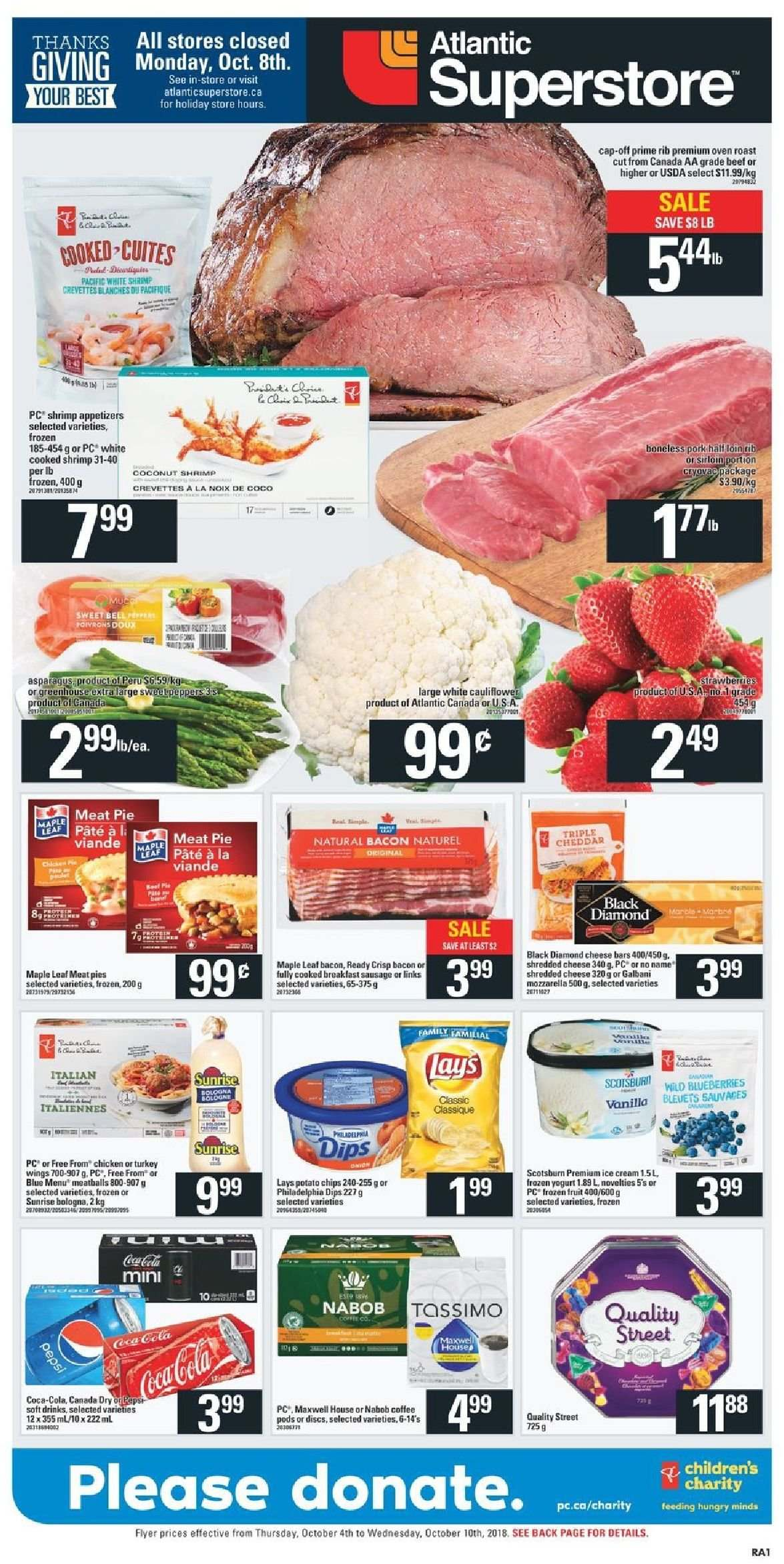 Atlantic Superstore Flyer  - October 04, 2018 - October 10, 2018. Page 1.
