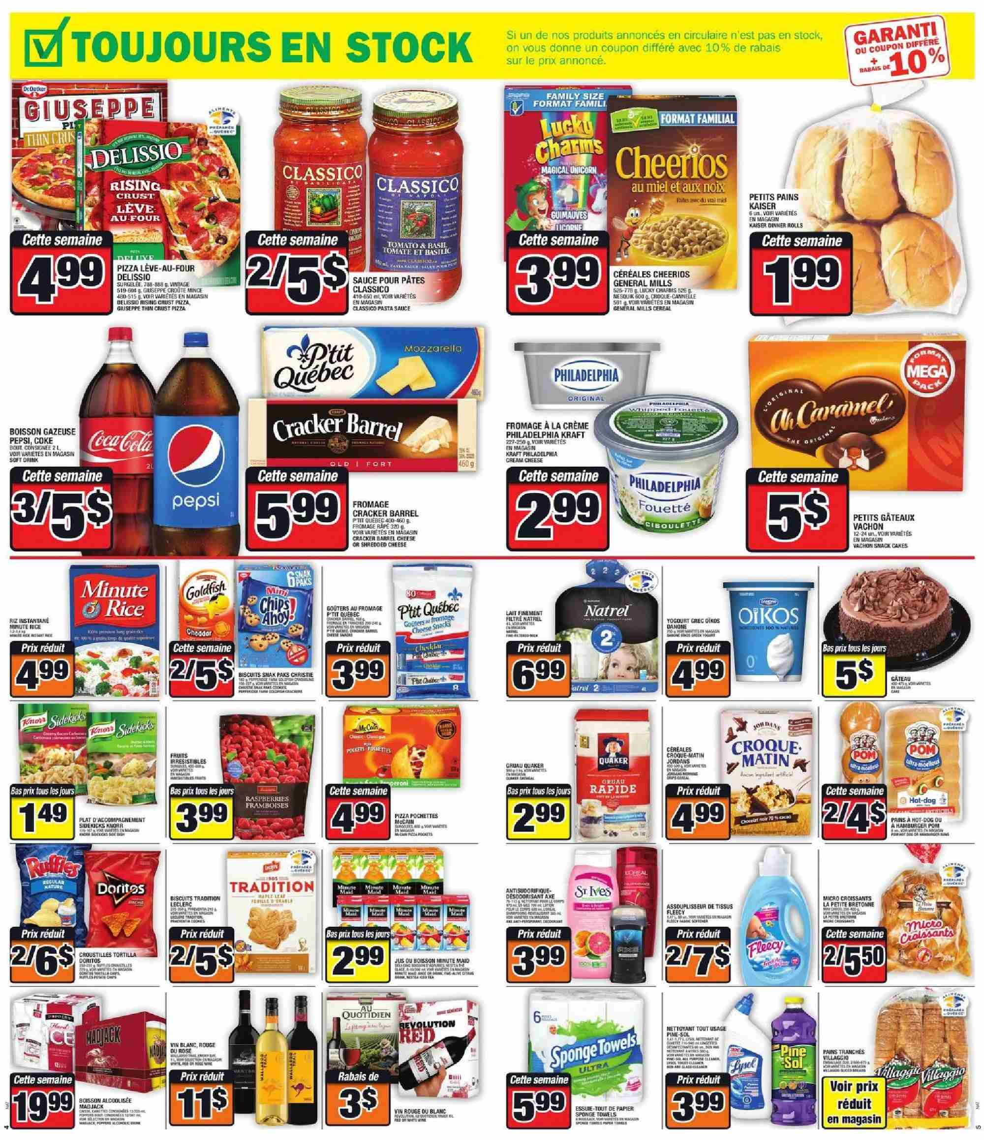 Super C Flyer - October 11, 2018 - October 17, 2018 - Sales products - axe, biscuits, cereals, coca cola, cream, cream cheese, crème, croissants, dinner rolls, mozzarella, rice, shredded cheese, hat, philadelphia, pizza, cheerios, pasta sauce, pepsi, cheese, snack, cereal, pasta, cracker, sauce, lait, biscuit, boisson, cannelle, desodorisant, four, fromage, mot, nettoyeur, pochette, râpé, rouge, pâtes. Page 3.