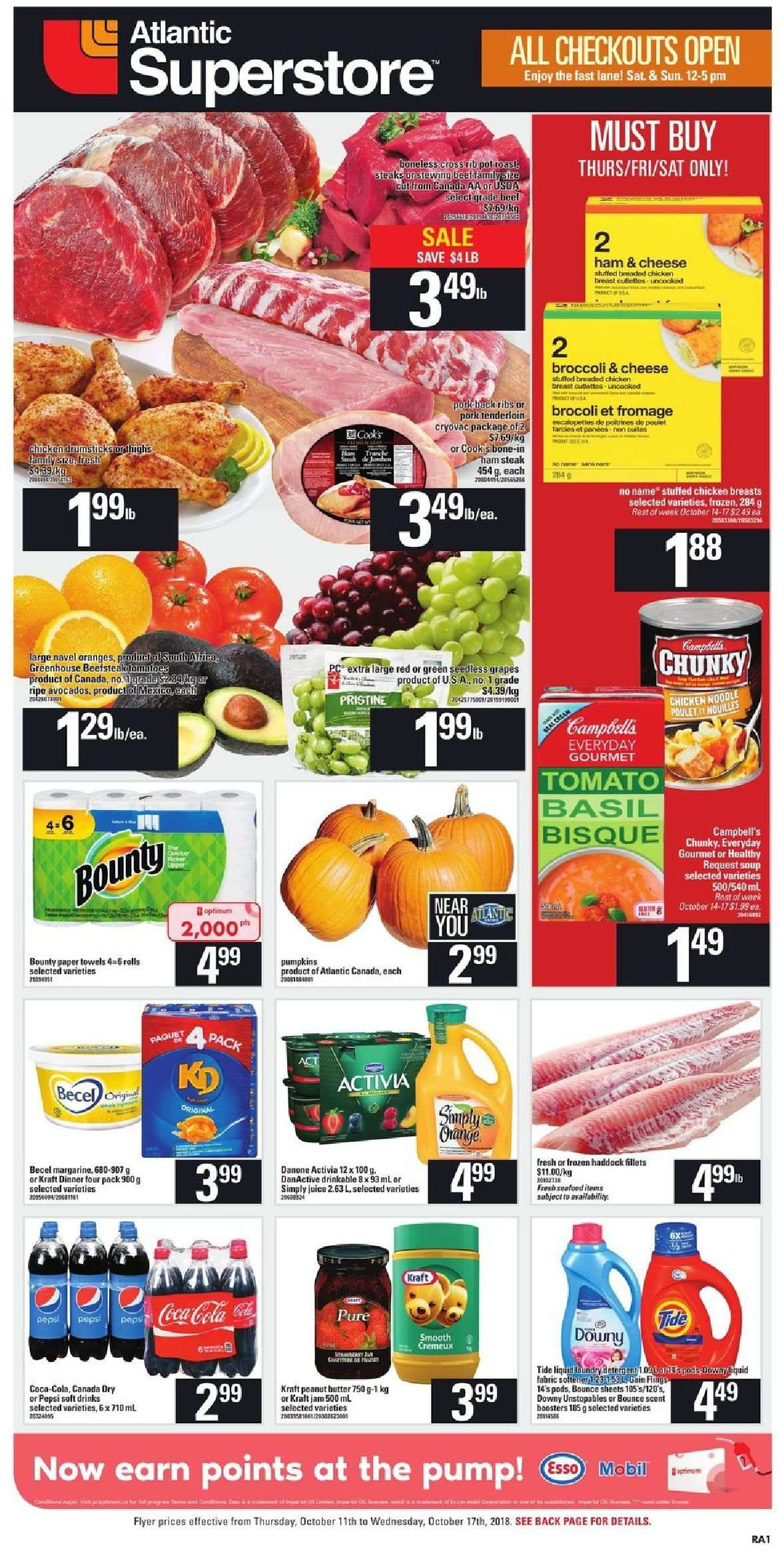 Atlantic Superstore Flyer  - October 11, 2018 - October 17, 2018. Page 1.